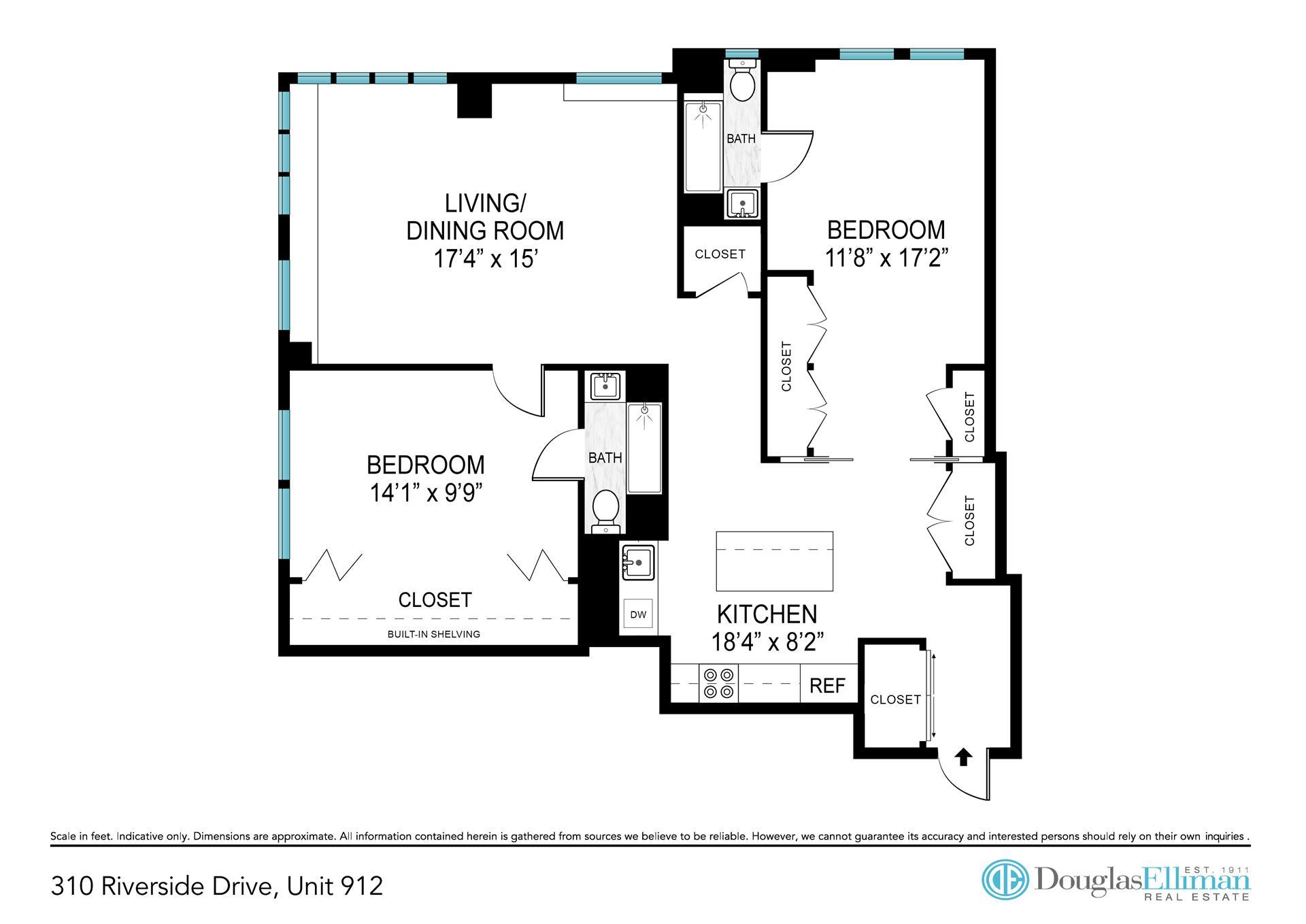 Floor plan of 310 Riverside Drive, 912 - Upper West Side, New York