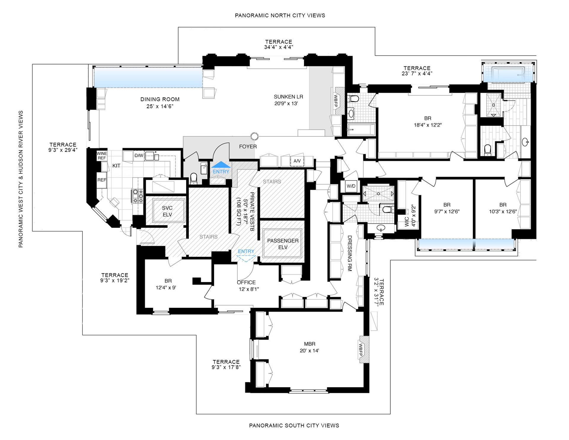 Floor plan of 200 West 86th Street, PHLM - Upper West Side, New York