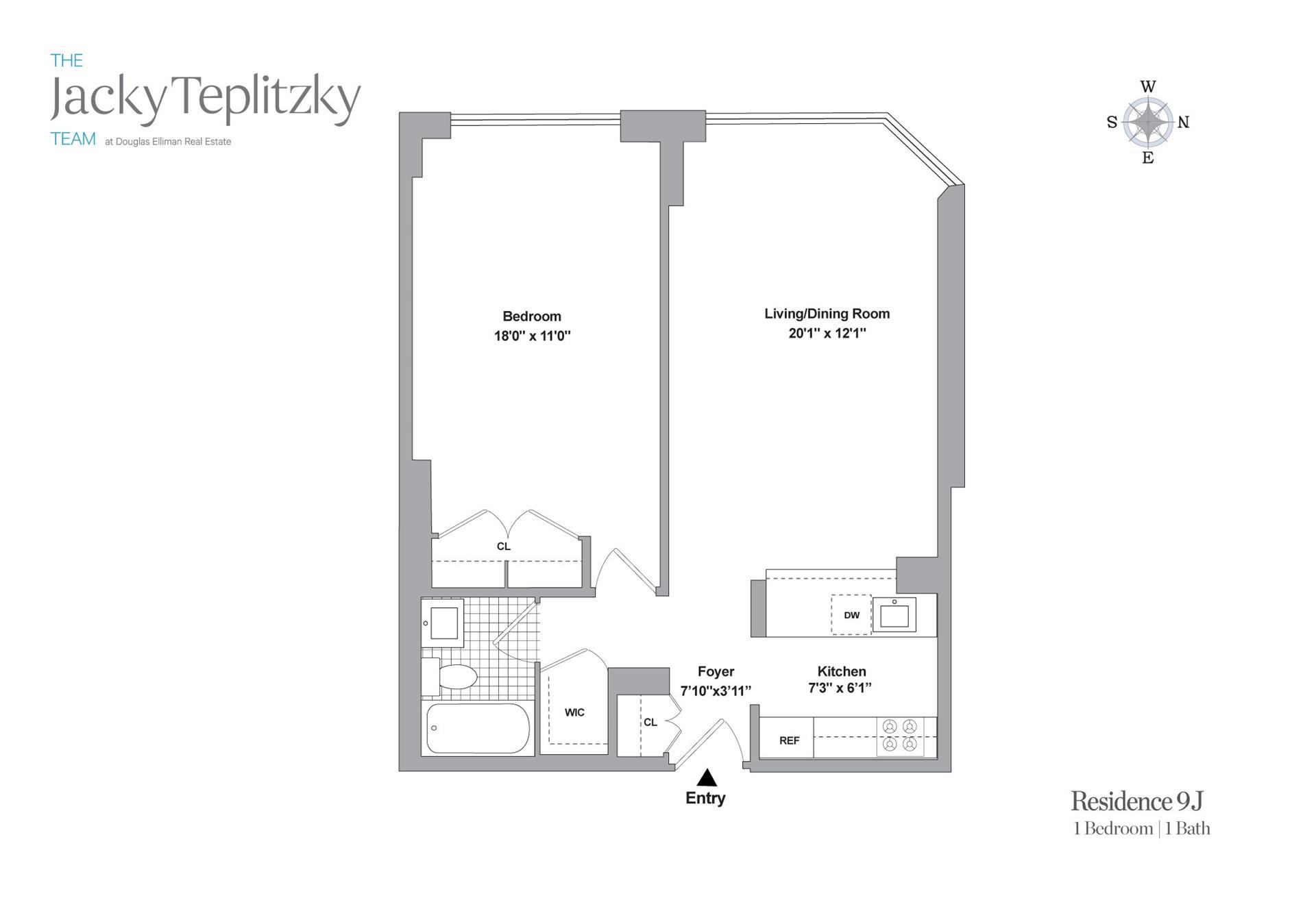 Floor plan of 215 West 95th Street, 9J - Upper West Side, New York