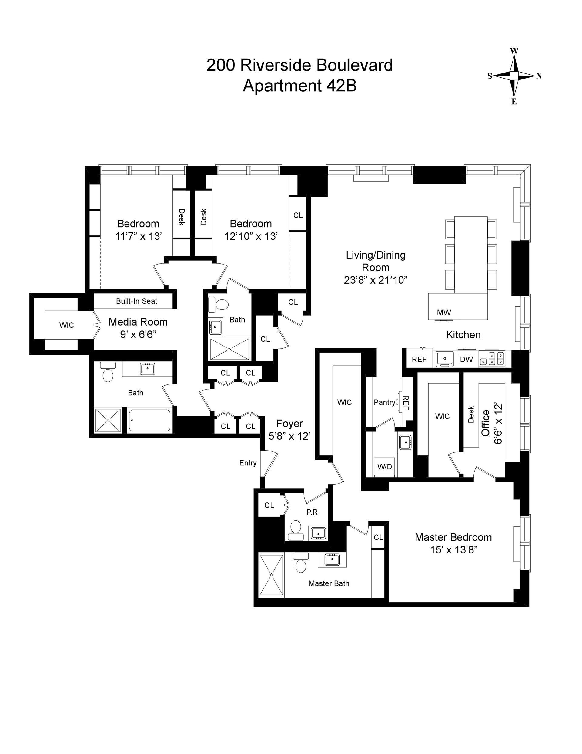 Floor plan of 200 Riverside Boulevard, 42B - Upper West Side, New York