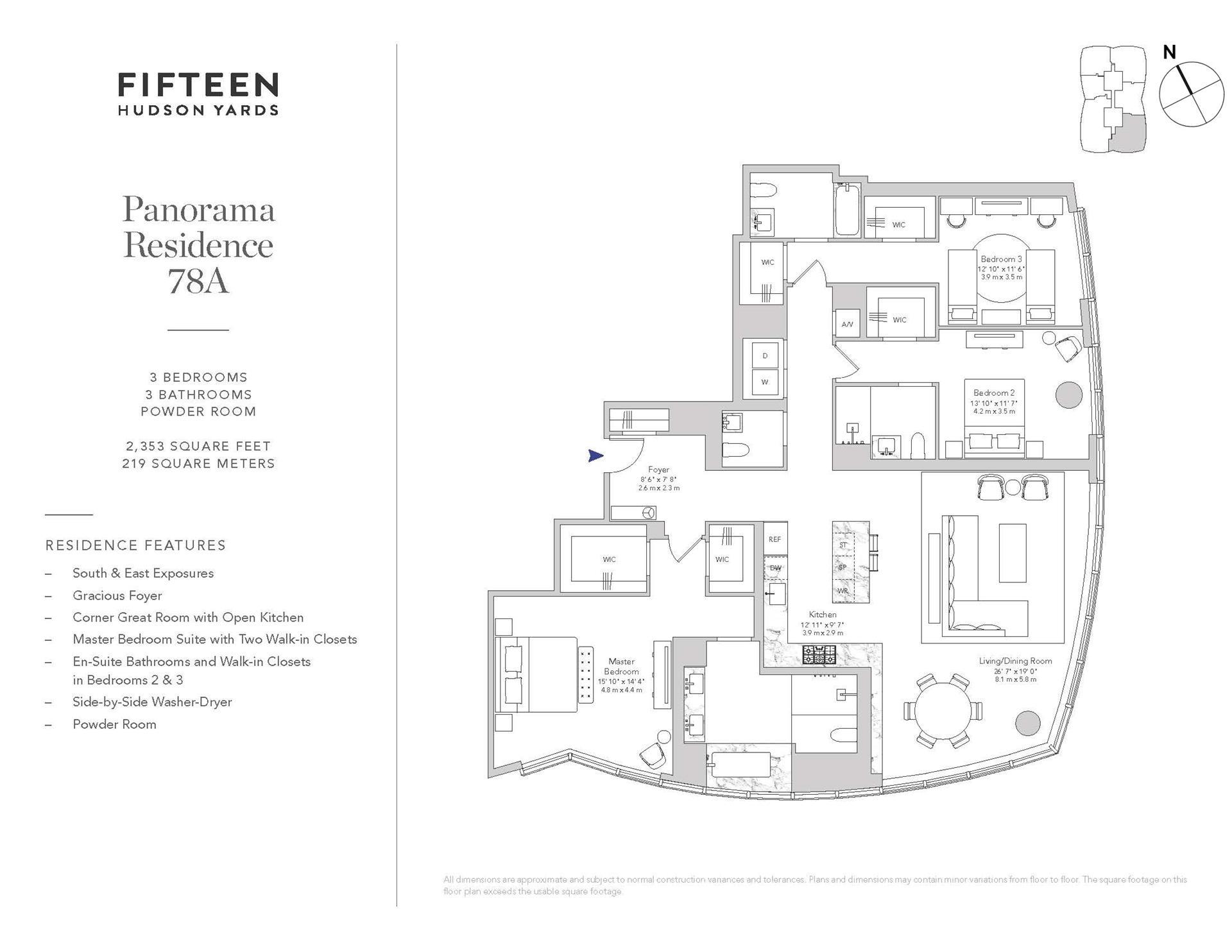 Floor plan of 15 Hudson Yards, 78A - Chelsea, New York