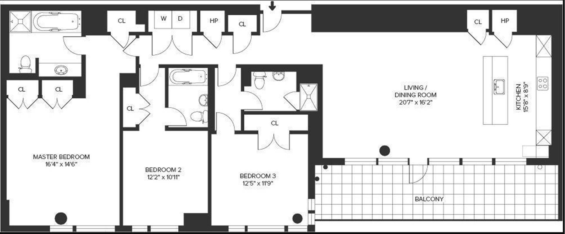 Floor plan of The Lucida, 151 East 85th Street, 16G - Upper East Side, New York