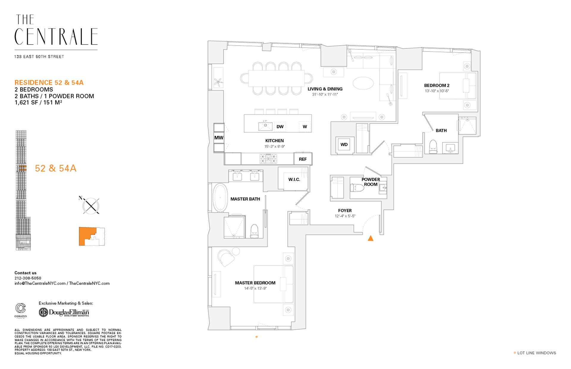 Floor plan of The Centrale, 138 East 50th Street, 52A - Midtown, New York