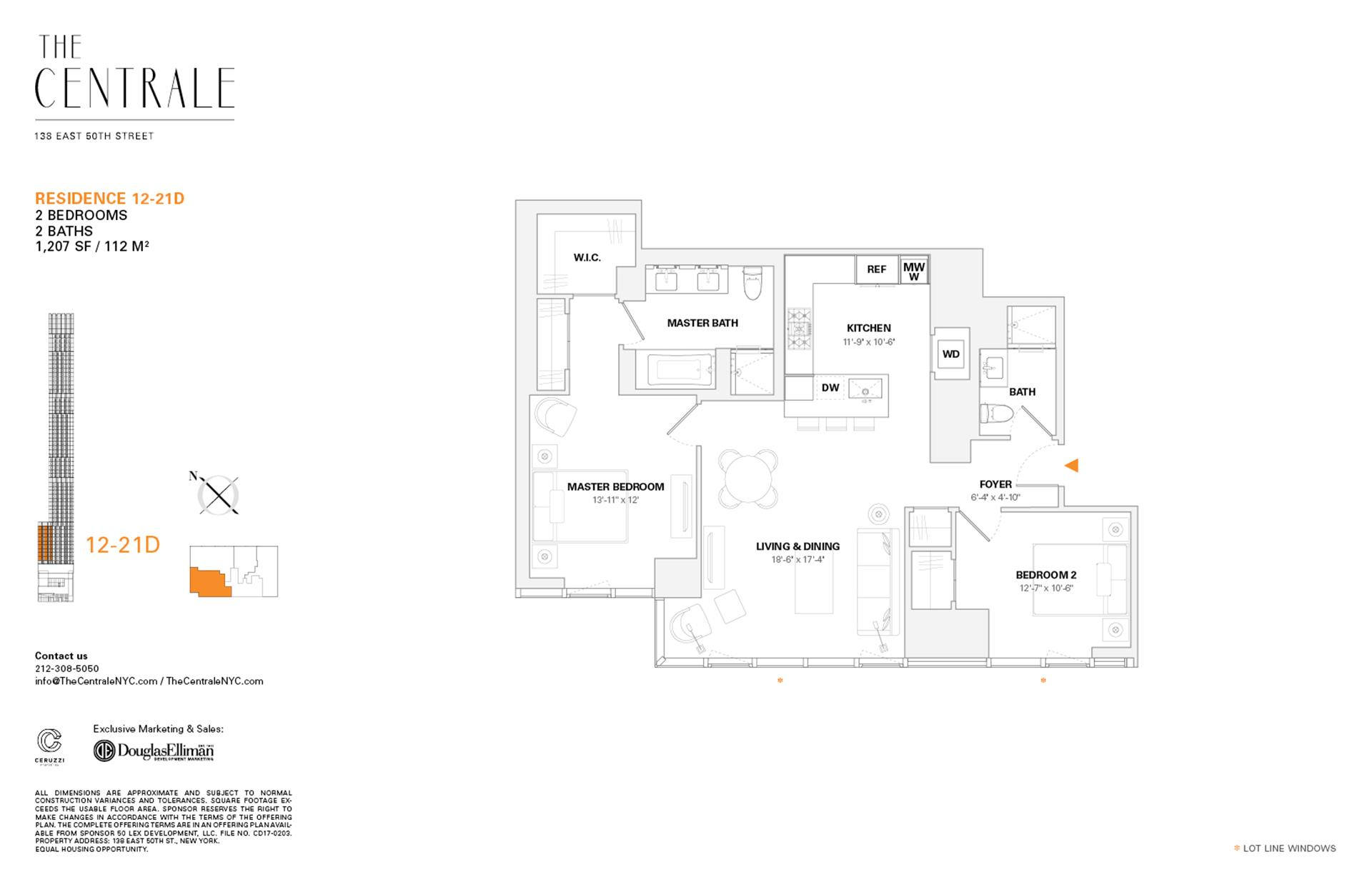Floor plan of The Centrale, 138 East 50th Street, 21D - Midtown, New York