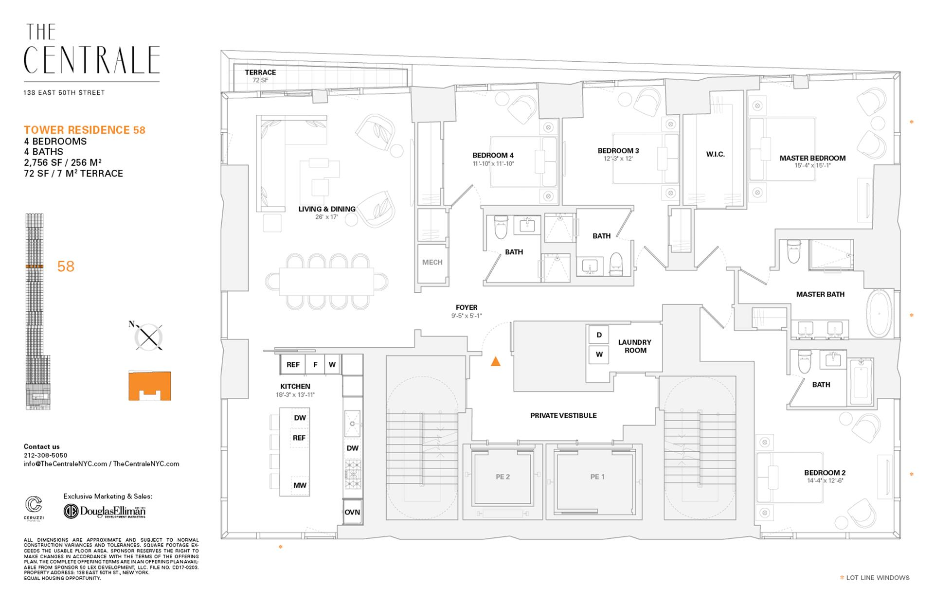 Floor plan of The Centrale, 138 East 50th Street, TR58 - Midtown, New York