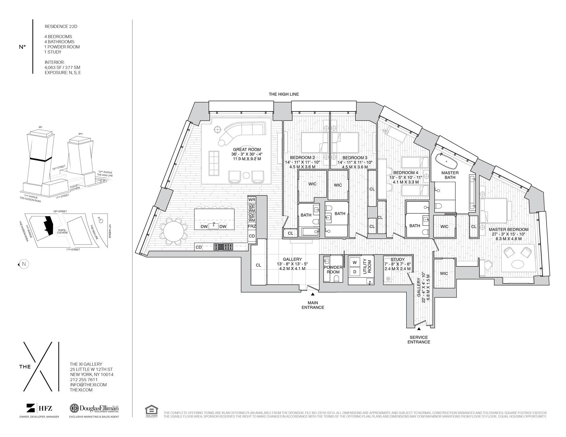 Floor plan of The XI, 76 Eleventh Avenue, 22D - Chelsea, New York