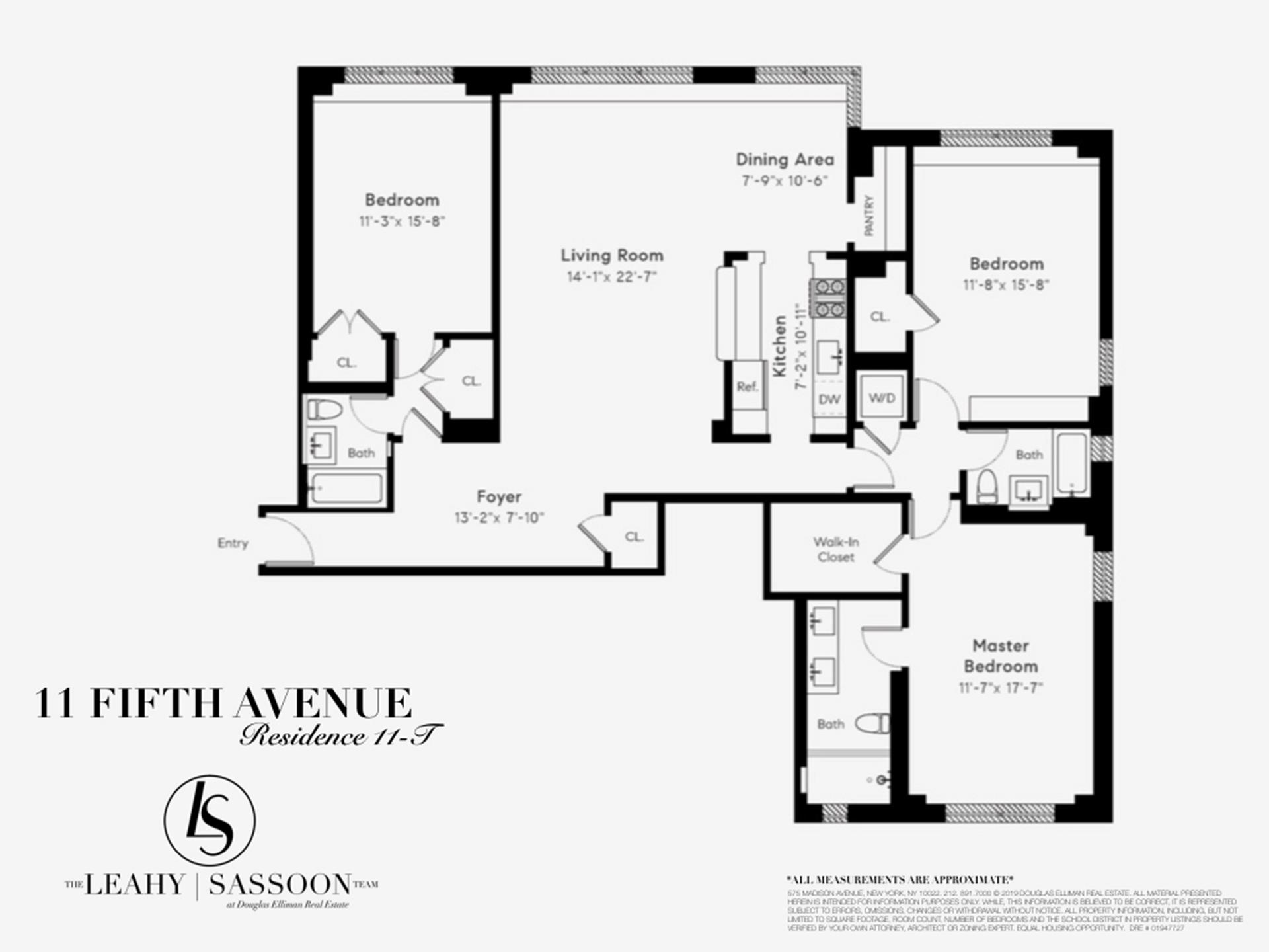 Floor plan of The Brevoort, 11 Fifth Avenue, 11T - Greenwich Village, New York