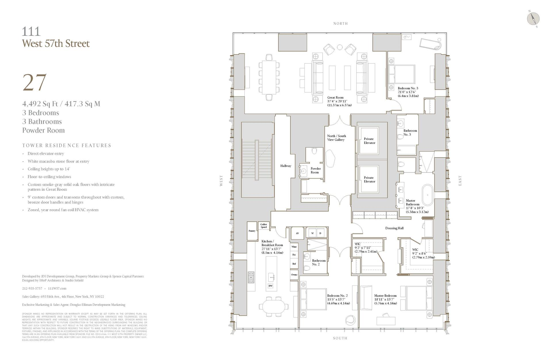 Floor plan of 111 West 57th Street, 27 - Central Park South, New York