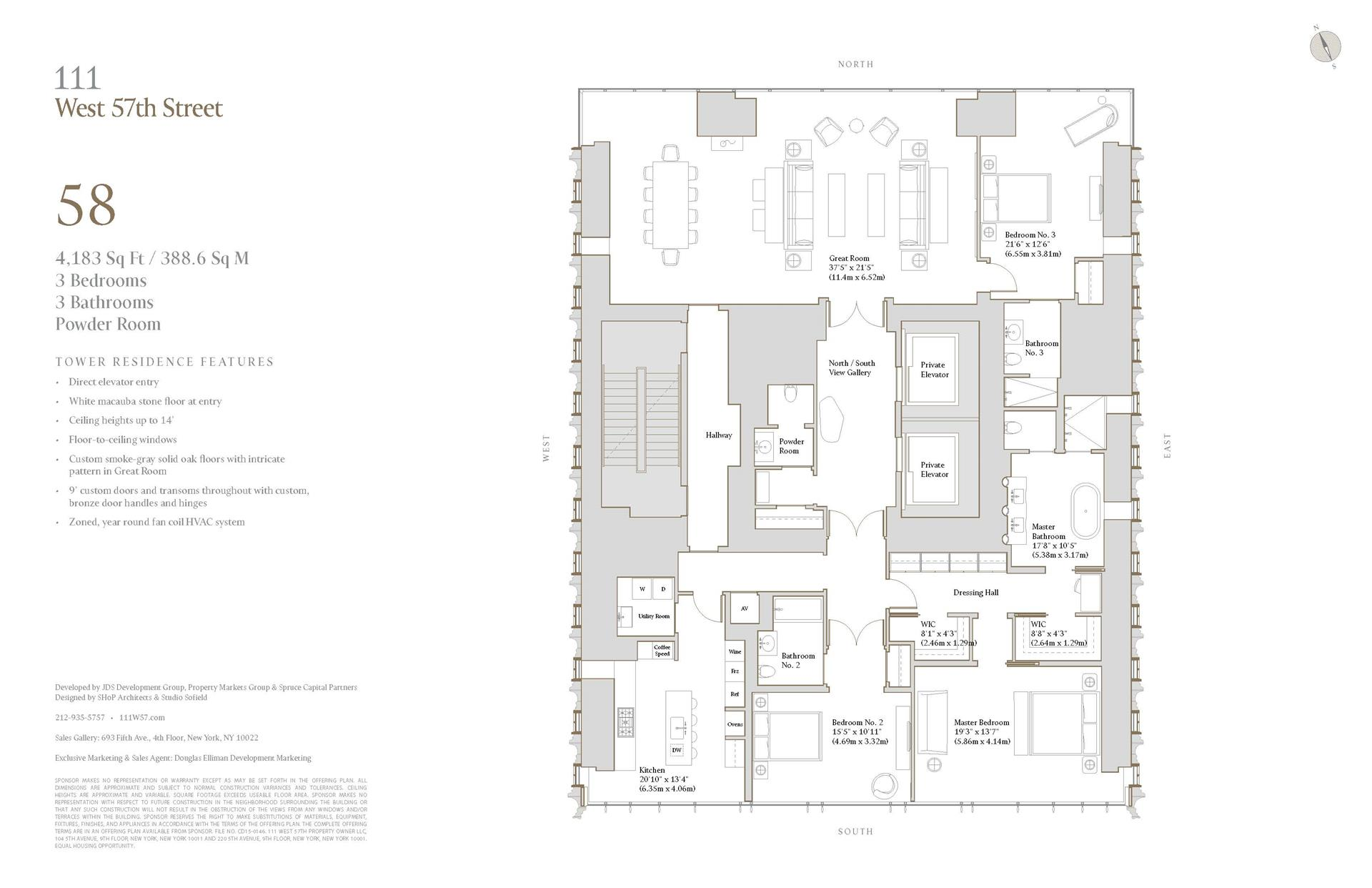 Floor plan of 111 West 57th Street, 58 - Central Park South, New York