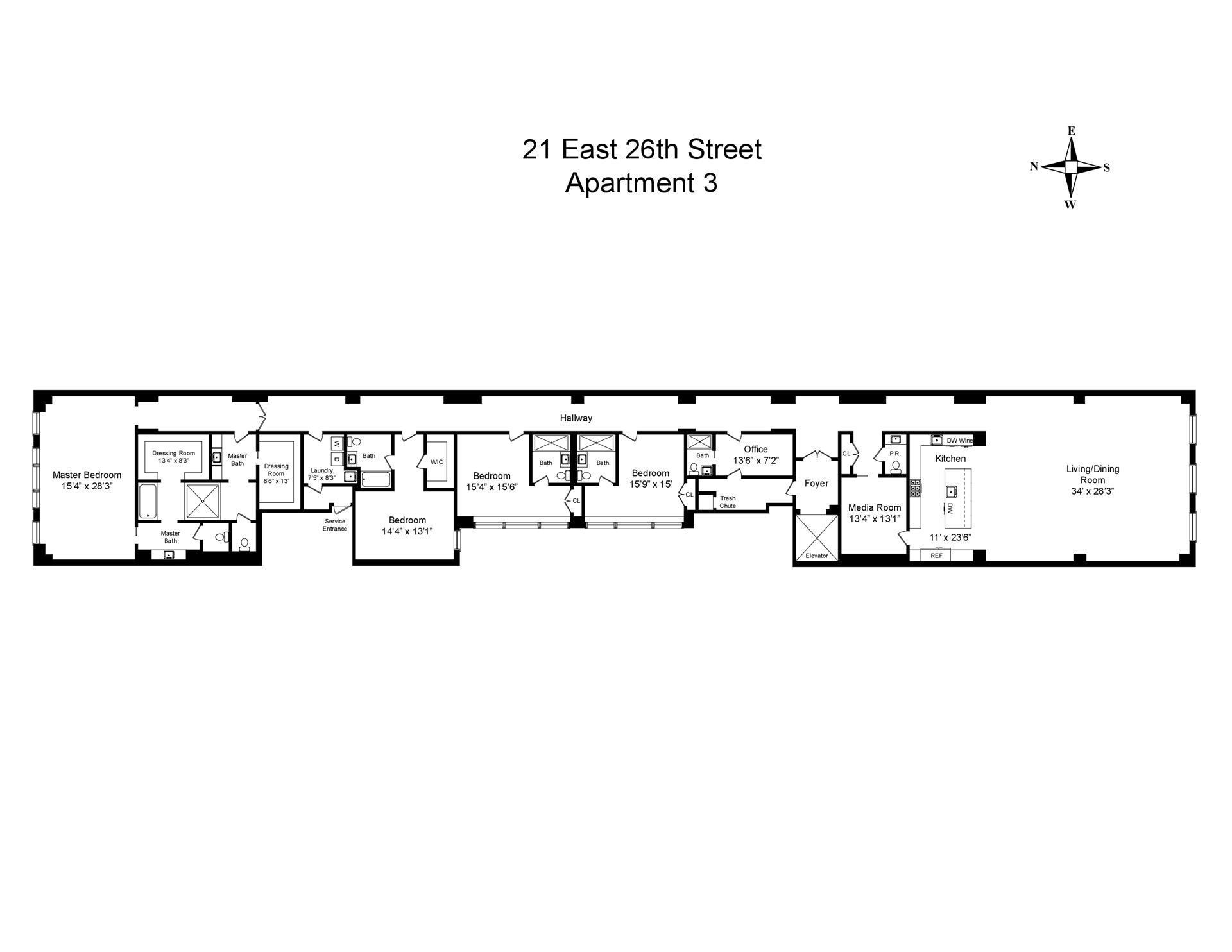 Floor plan of The Whitman, 21 East 26th Street, 3 - NoMad, New York