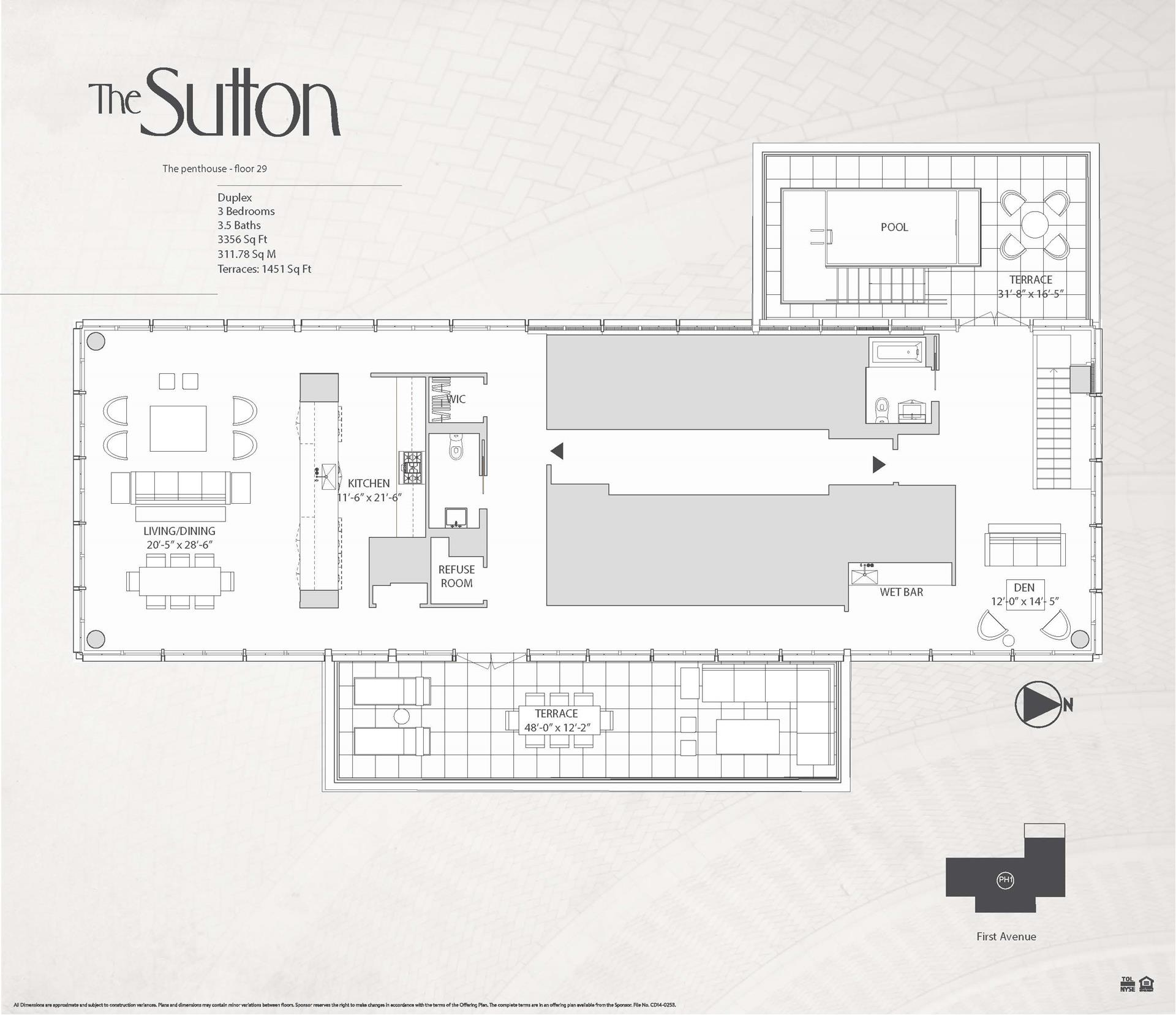 Floor plan of The Sutton, 959 First Avenue, PH1 - Sutton Area, New York
