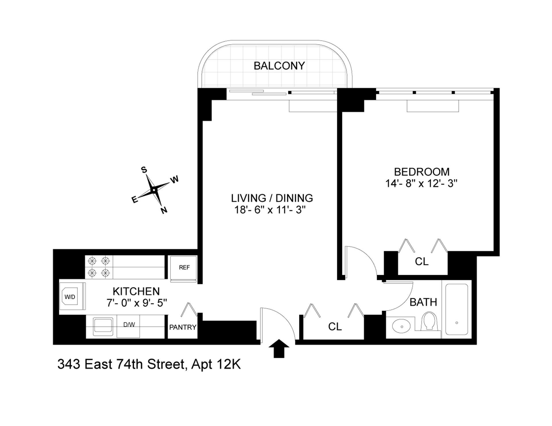 Floor plan of 343 East 74th Street, 12K - Upper East Side, New York