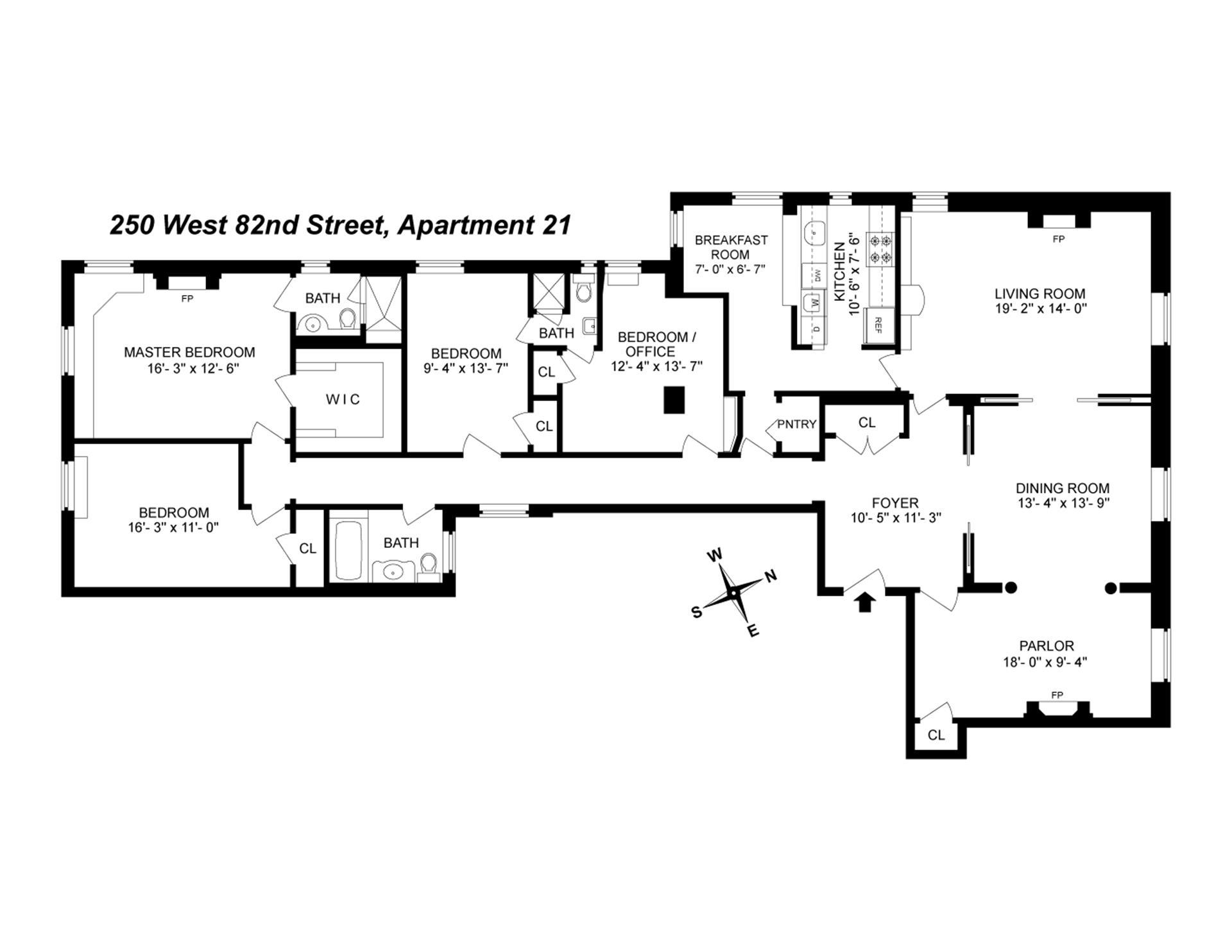 Floor plan of 250 West 82nd Street, 21 - Upper West Side, New York
