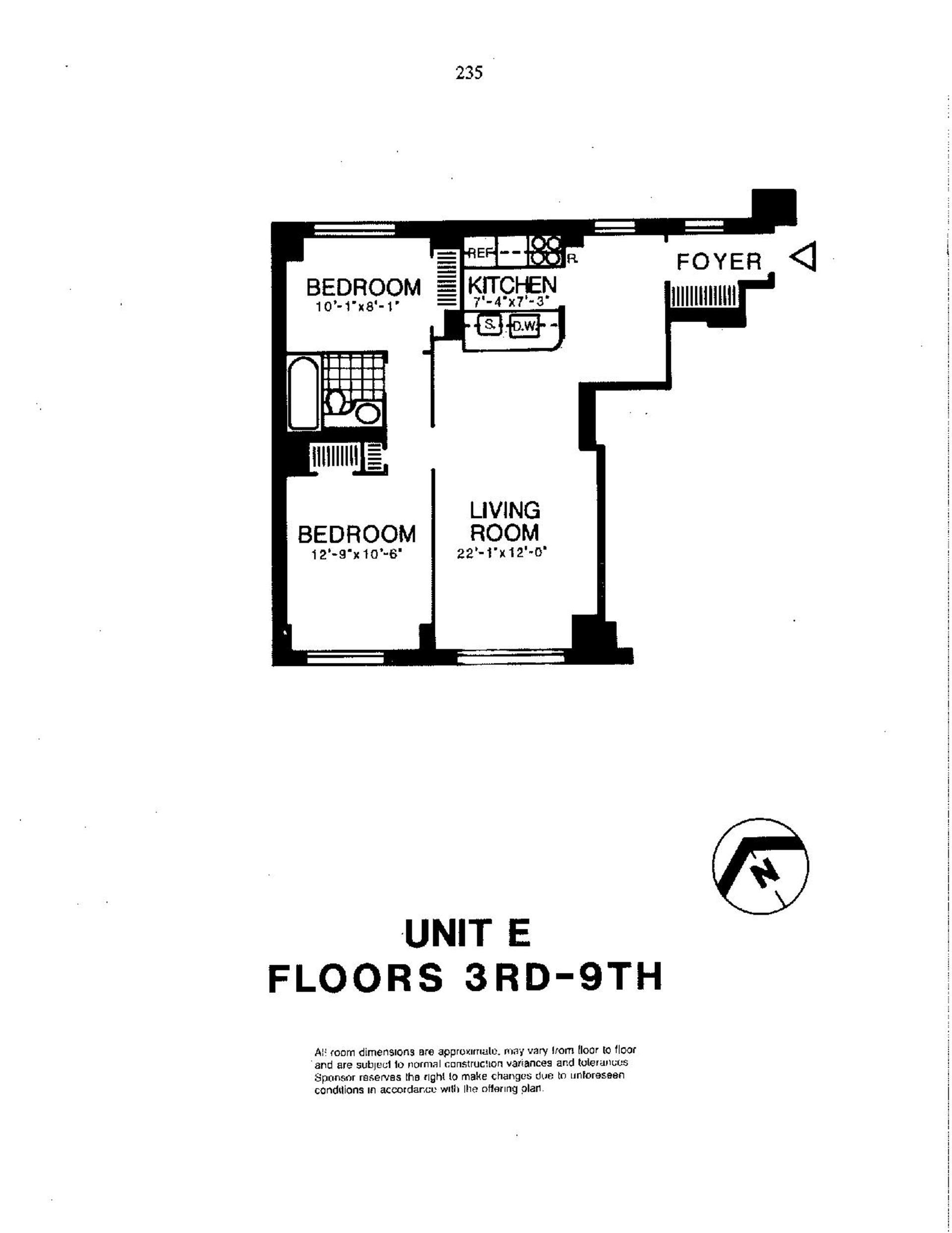 Floor plan of Liberty Residences, 200 Rector Pl, 5E - Battery Park City, New York