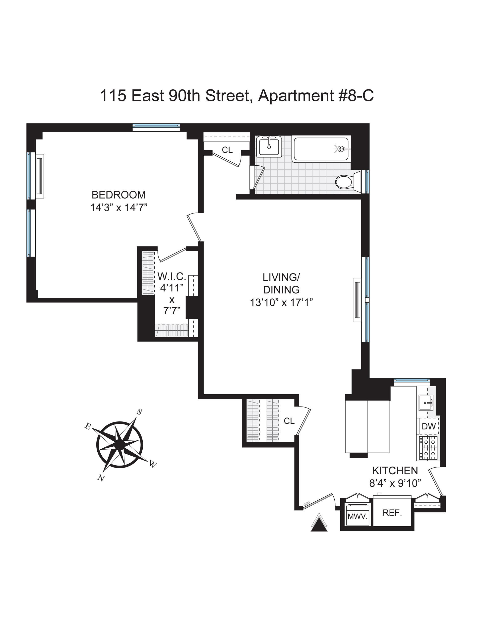 Floor plan of 115 TENANTS CORP., 115 East 90th Street, 8C - Upper East Side, New York