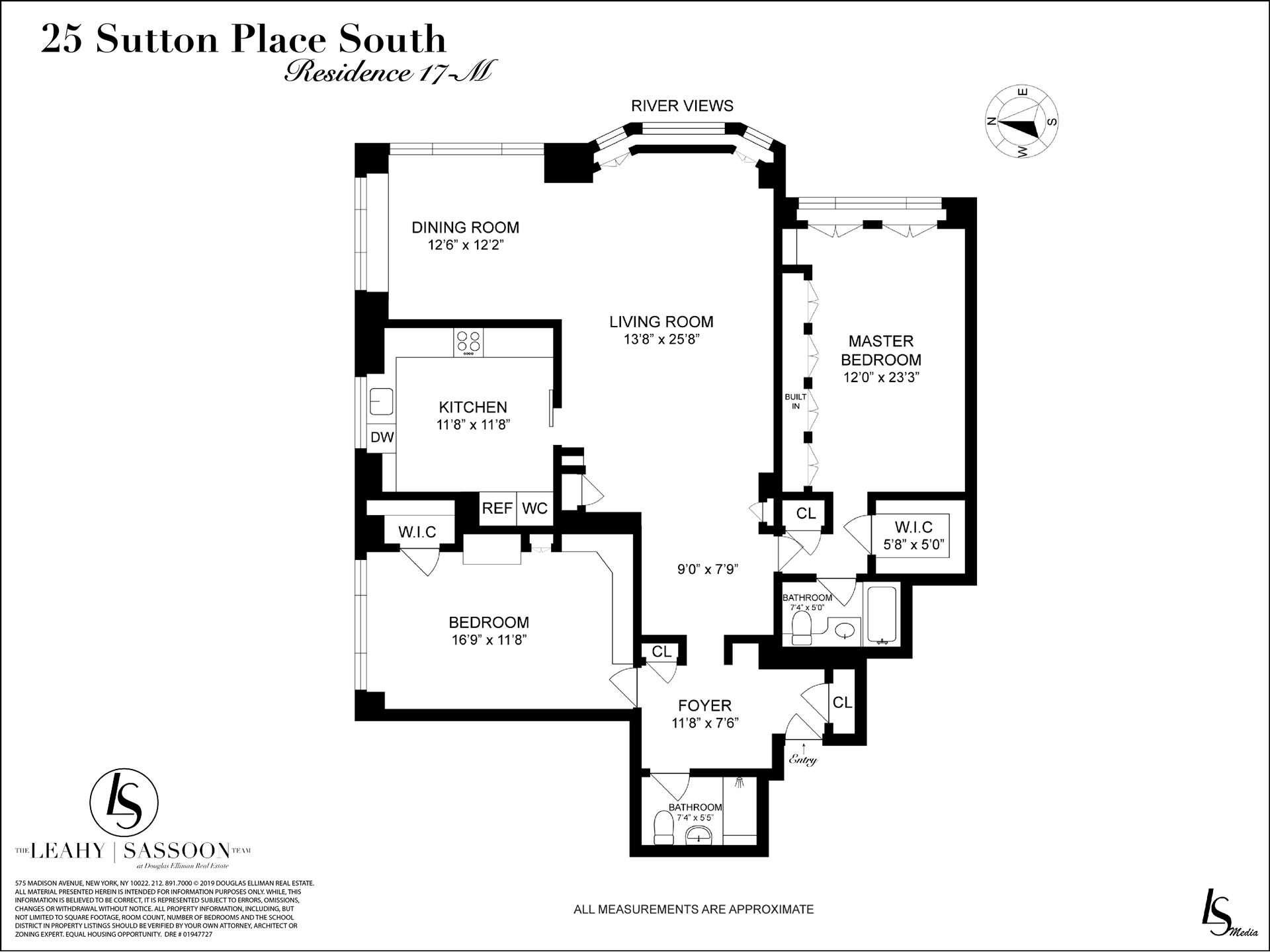 Floor plan of 25 Sutton Pl South, 17M - Sutton Area, New York