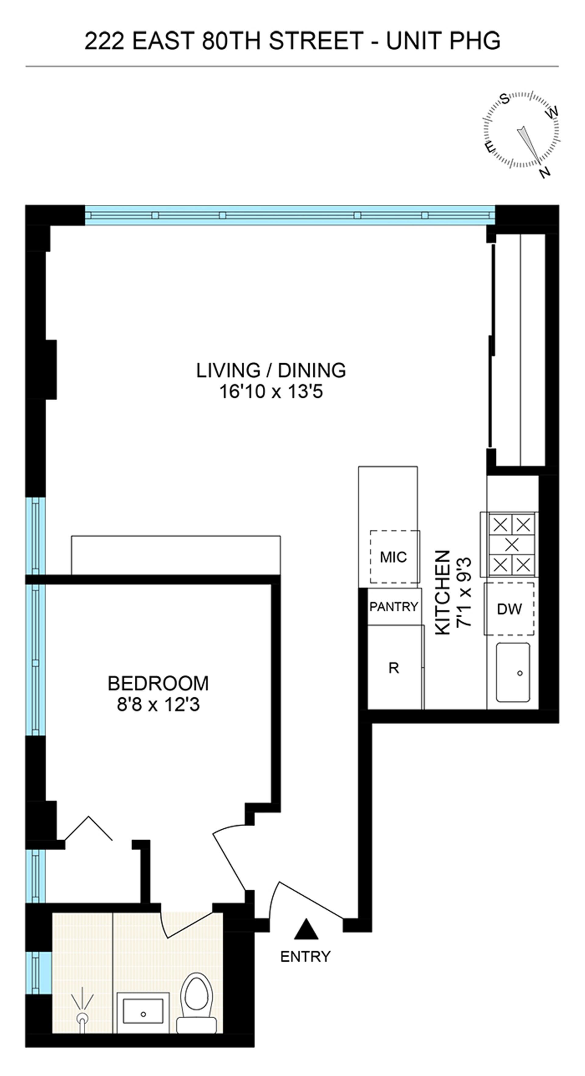 Floor plan of 222 East 80th Street, PHG - Upper East Side, New York