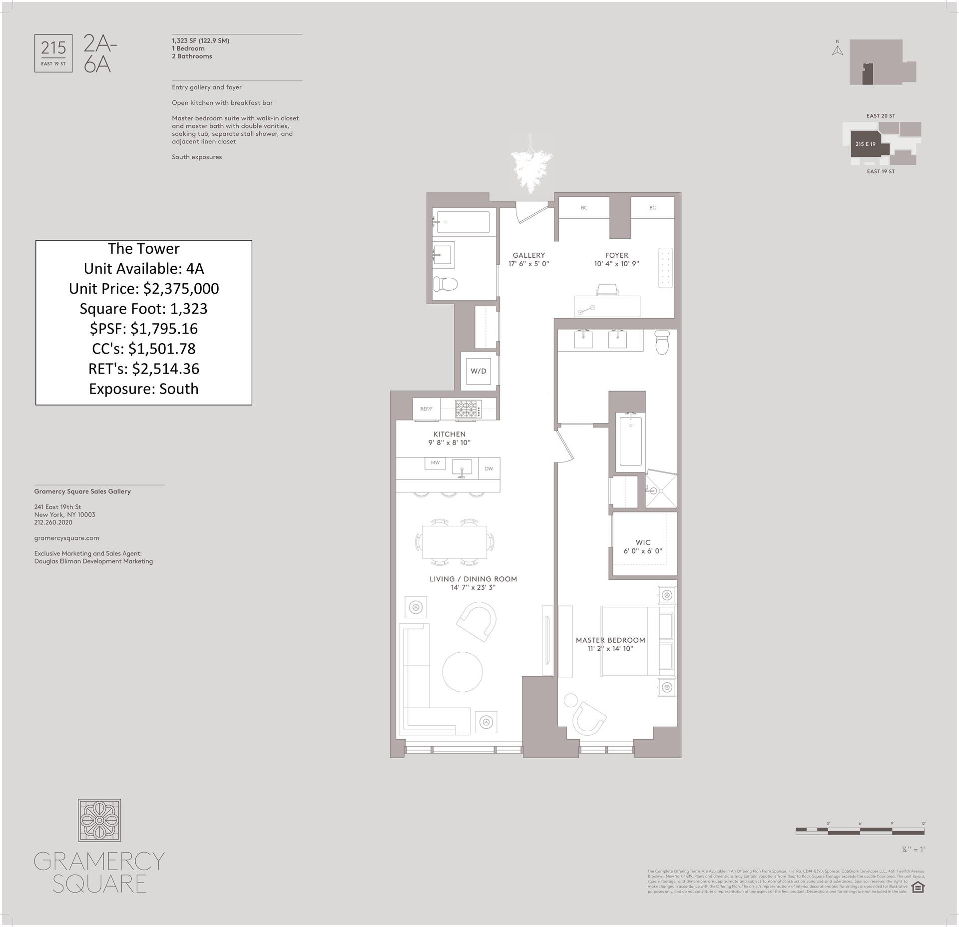 Floor plan of Gramercy Square, 215 East 19th Street, 4A - Gramercy - Union Square, New York