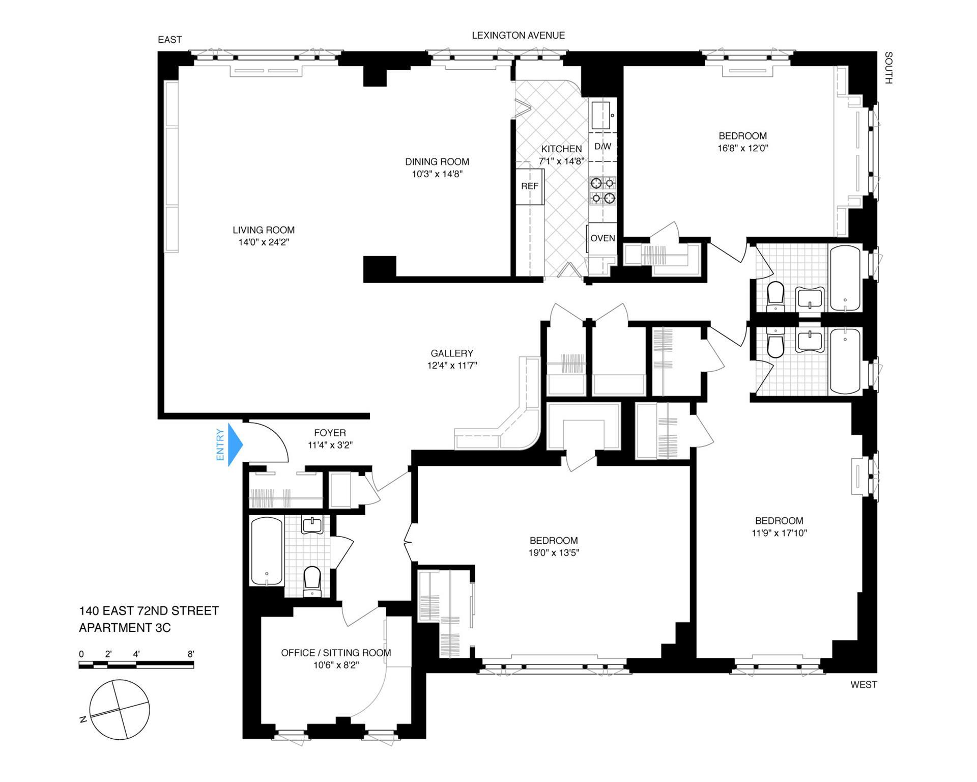 Floor plan of 71 Street-Lexington Corp., 140 East 72nd Street, 3C - Upper East Side, New York