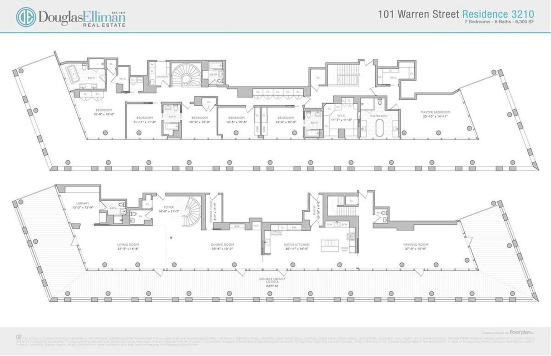 Floor plan of 101 Warren Street, 3210/3240 - TriBeCa, New York