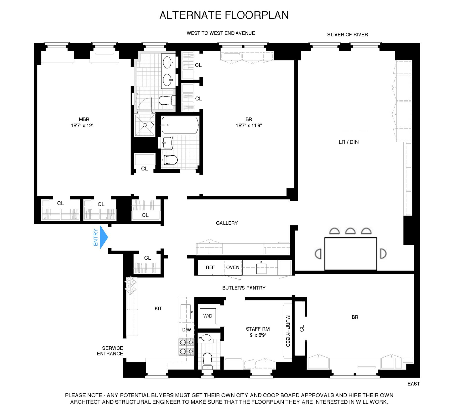 Floor plan of 400 West End Avenue, 8B - Upper West Side, New York