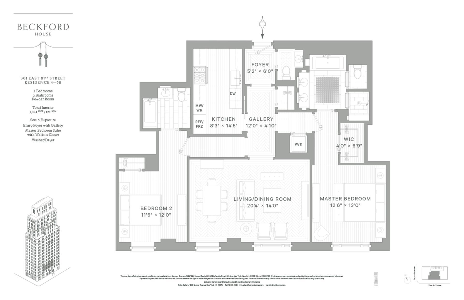 Floor plan of Beckford House, 301 East 81st Street, 4B - Upper East Side, New York