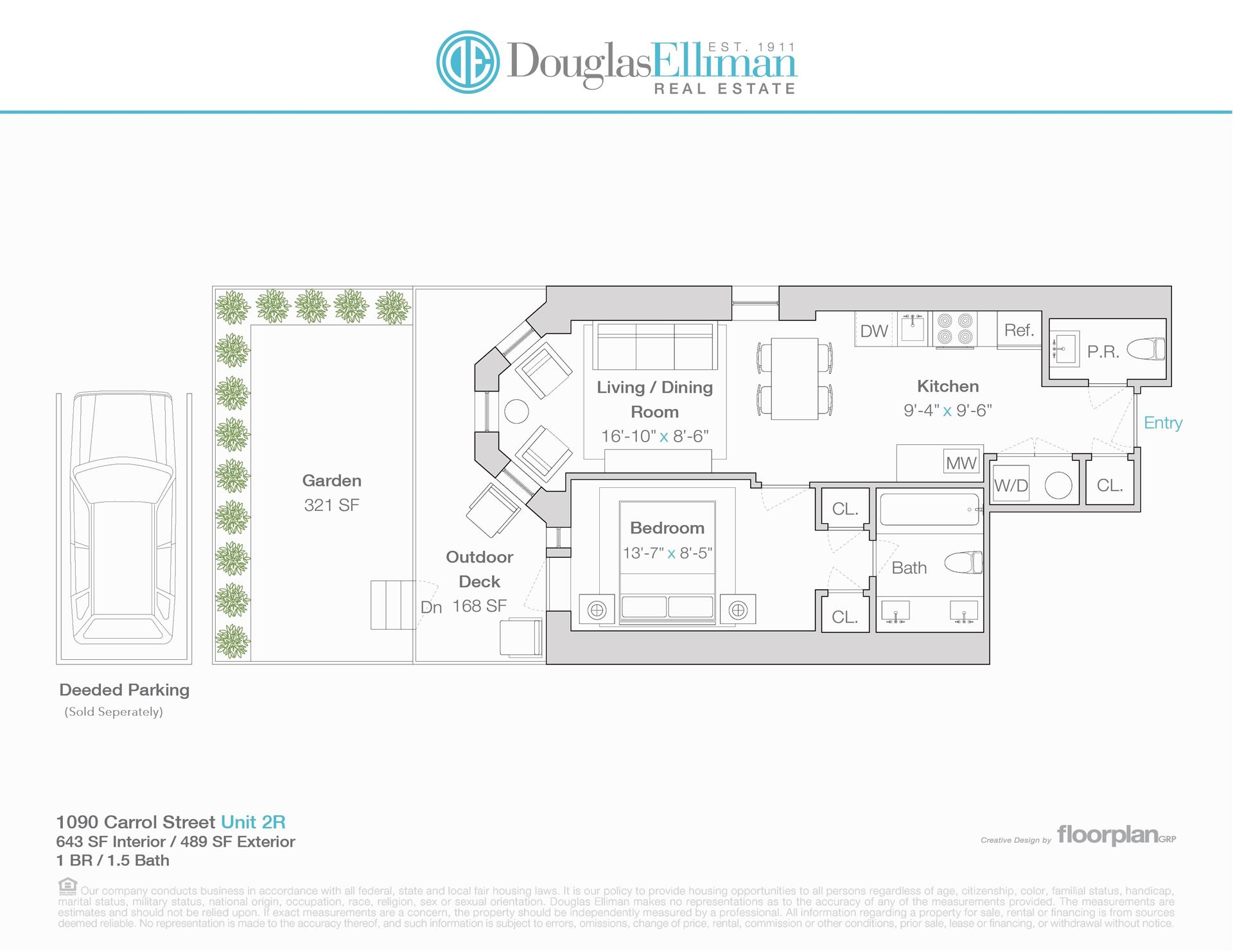 Floor plan of 1090 Carroll Street, 2R - Crown Heights, New York