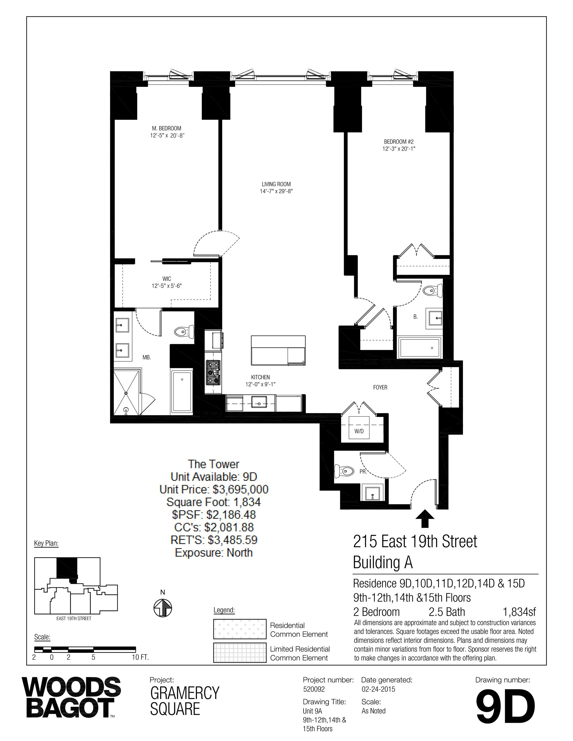Floor plan of Gramercy Square, 215 East 19th Street, 9D - Gramercy - Union Square, New York