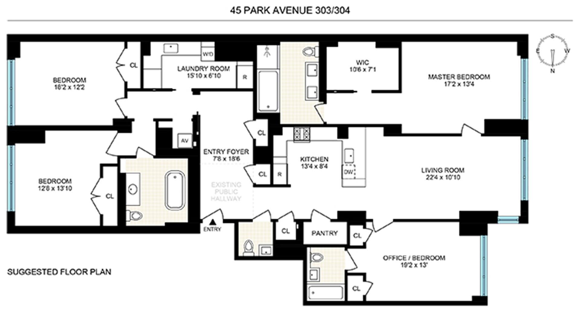 Floor plan of 45 Park Avenue, 303/304 - Murray Hill, New York