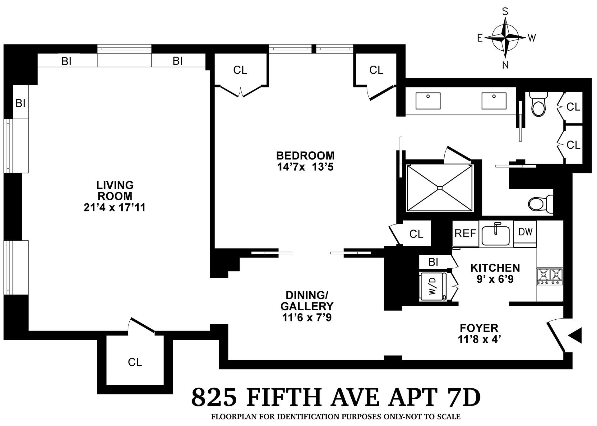 Floor plan of 825 Fifth Avenue, 7D - Upper East Side, New York