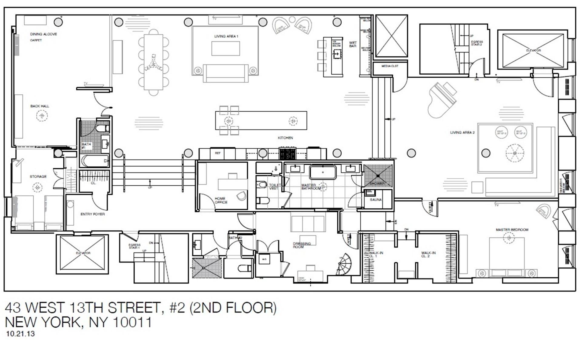 Floor plan of 43 West 13th St, 2 - Greenwich Village, New York