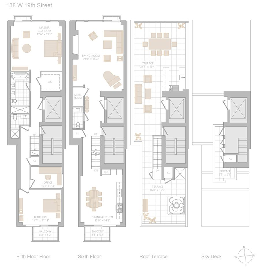 Floor plan of Modern 19, 138 West 19th Street, PENTHOUSE - Chelsea, New York