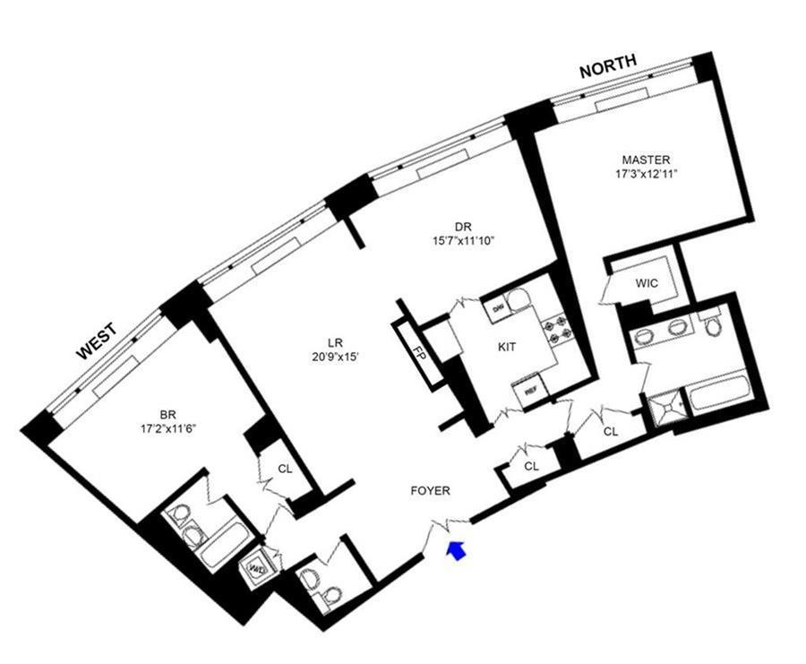 Floor plan of The Heritage, 240 Riverside Boulevard, 9B - Upper West Side, New York