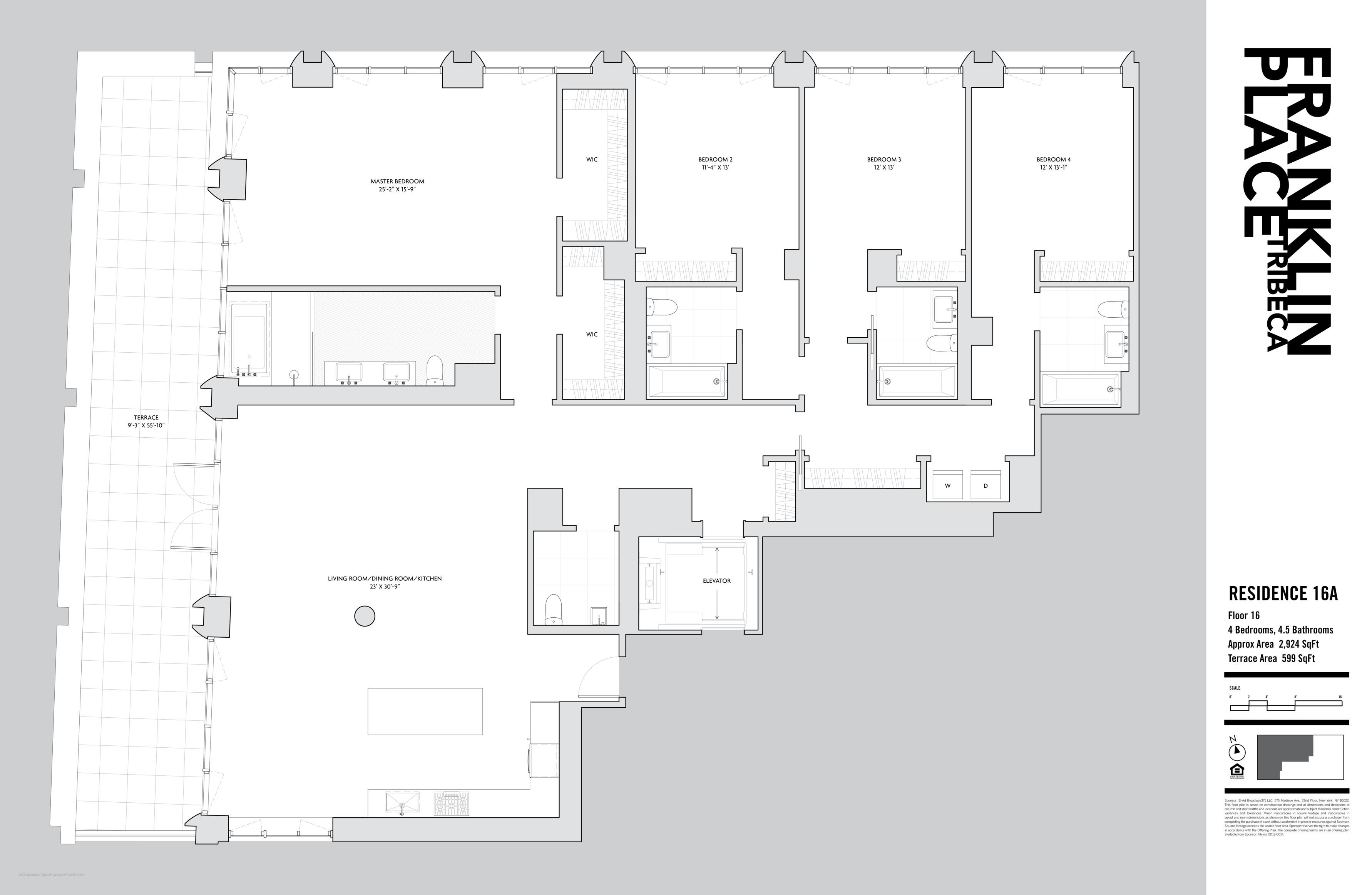 Floor plan of Franklin Place, 5 Franklin Pl, 16A - TriBeCa, New York