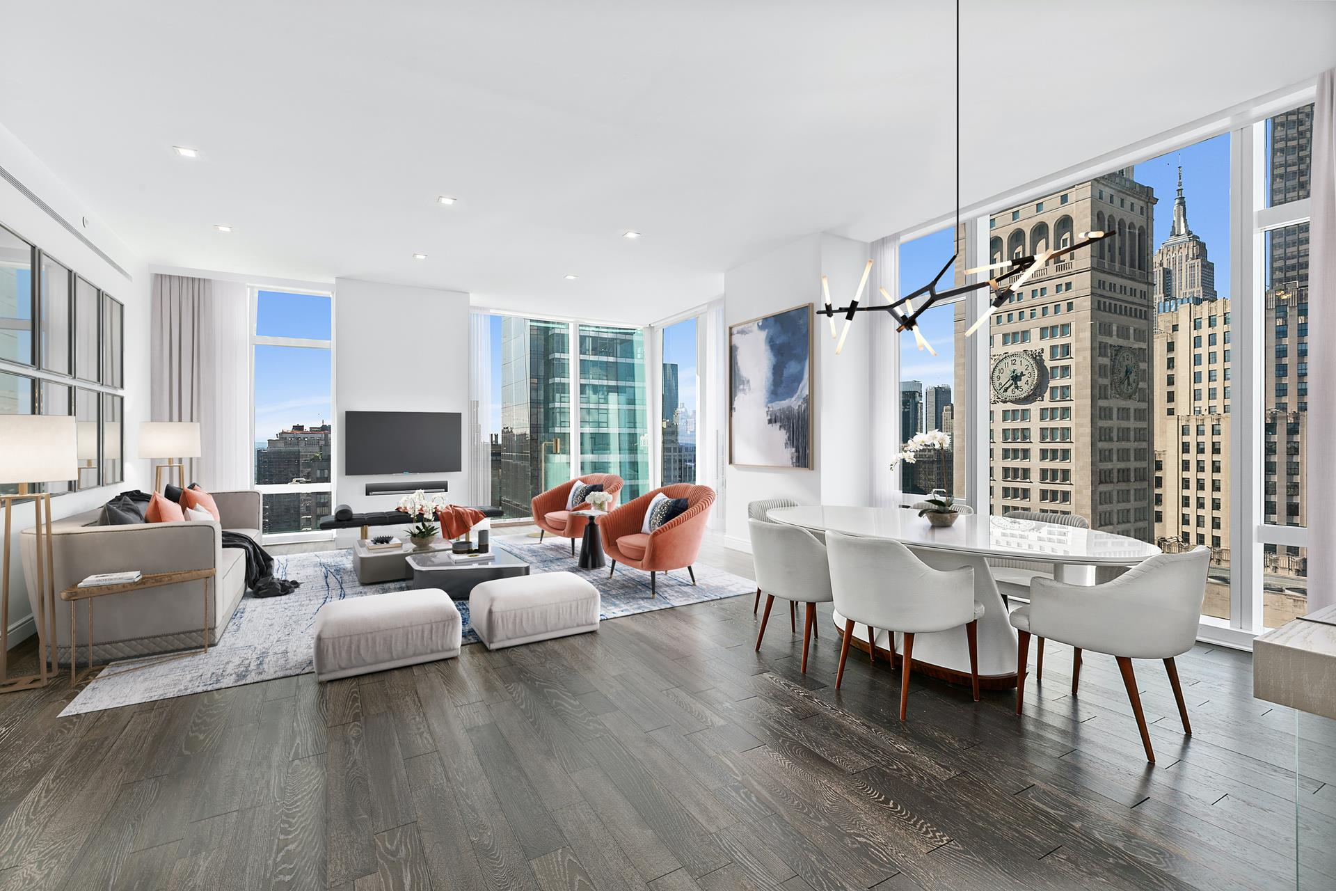 Perched high above the Flatiron District, with 10-foot ceilings and floor-to-ceiling windows, boasting southern, western, and northern exposures, Residence 31A commands dramatic architectural and river views, is awash in natural light throughout the day   and basked in golden sunsets.     The windowed kitchen boasts Nanz hardware, Sub-Zero and Miele appliances, custom cabinetry by Molteni, marble countertops and backsplash. Adjacent to the kitchen's open breakfast counter, the wet bar outfitted in marble, solid-oak paneling with a Sub-Zero wine   refrigerator is ideal for entertaining.    The corner, southwest facing Master Bedroom Suite includes a large customized walk-in closet, a windowed five fixture master bath and abundant natural light. Bathrooms feature a handsome selection of marbles, custom wood vanities, recessed medicine cabinets,   inset shower and tub niches, and Waterworks fixtures. Residences include 4-pipe fan coil HVAC systems and Kraus home automation systems.    Designed by the world-renowned architectural firm Kohn Pedersen Fox Associates and located on tree-lined 22nd Street between Park Avenue South and Broadway, Madison Square Park Tower's 75-foot-wide granite base blends perfectly with the neighboring facades,   with the glass tower ascending to it's 777-foot pinnacle above Flatiron.    Residents enjoy five floors of amenities consisting of a fitness center with boxing and private training suite, multi-sport simulator, basketball court, children's playroom, library, billiards, card room, terrace with outdoor grill, and two gracious entertaining   spaces including Club 54, perfect for entertaining with a full kitchen and some of the most spectacular views in New York.