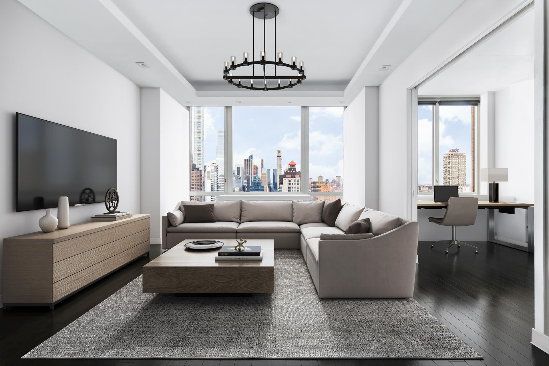 A view of New York City like no otherThis masterfully designed residence features 10-foot floor to-ceiling windows, showcasing panoramic views of New York City. This unique property allows a discerning buyer an opportunity to experience One World Trade Center to Central Park to the George Washington Bridge and more, from sunset to sunrise.With over 1,500 square-feet of living space, enjoy the expansiveness of 3 bedrooms, 3 bathrooms and a gracious living room with separate dining space. The third bedroom is located just off the living space, which allows an opportunity to customize the room to suit your needs. The walk-through kitchen offers ample storage, stainless steel appliances and granite counters.Spacious, long hallways on either end of the living room allow for privacy in the main bedrooms. The bedroom on the South side of the apartment is flanked by natural light from the double exposure to the South and the West, and includes an en-suite bath making this a luxurious guest space. At the other side of the residence, the master suite has expansive views West towards Central Park. The suite features a large walk-in closet and several additional custom closets offering ample space. The en-suite bath has a full standing shower, separate soaking tub, double-sink vanity and additional storage.This home also features an additional full, third bathroom adjacent to the main living space, encased in Marble with a full standing shower. This smart-residence offers a fully integrated audio, lighting, and electric shade system controlled by Lutron. Design details and amenities include wide-plank ebony wood floors, an in-unit vented washer/dryer and additional closet space throughout.This full-service luxury condominium features a roof deck, fitness center, children's playroom, central laundry room, garage, courtyard and concierge.Call or email us to set up a private showing.
