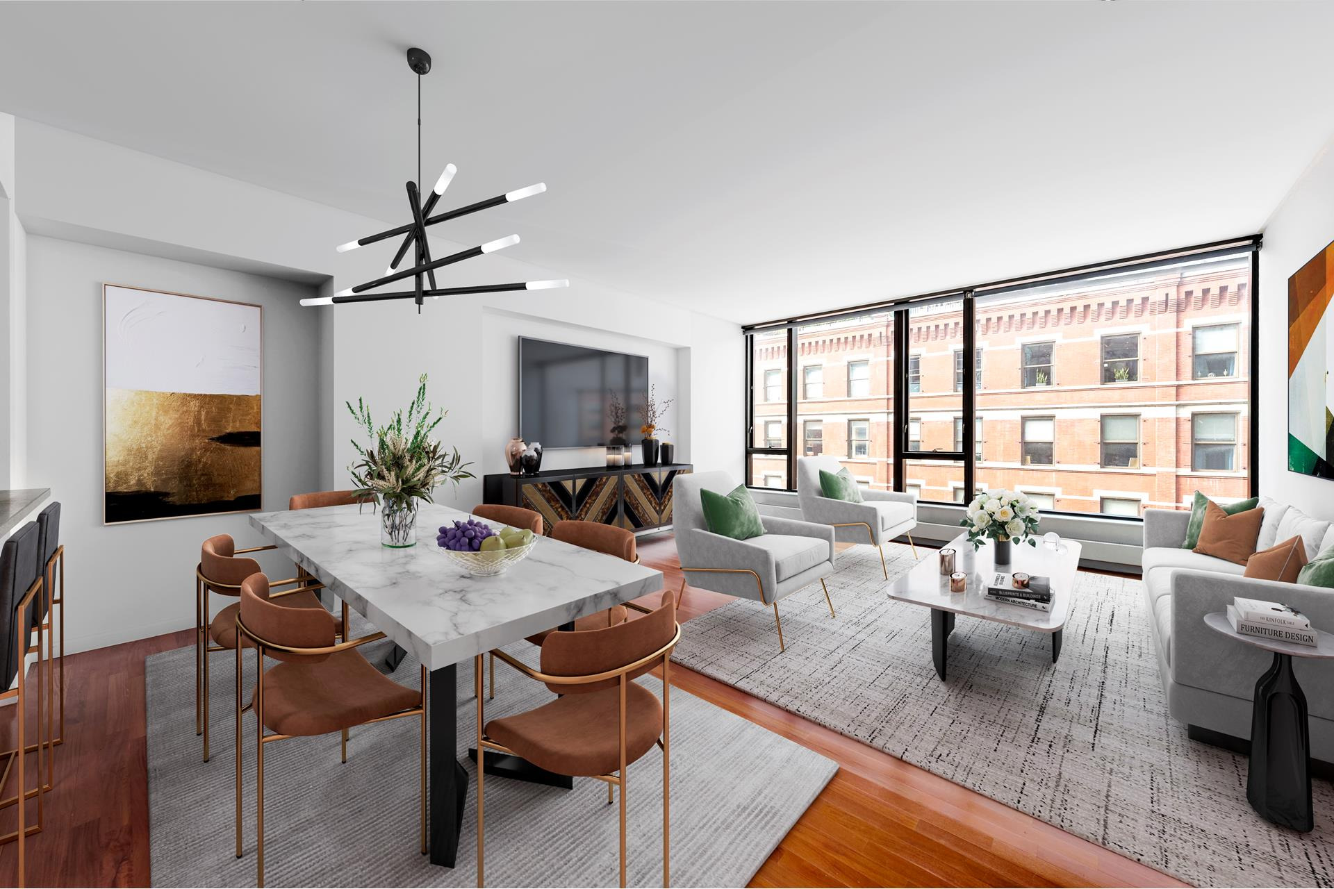 Downtown living in one of the most premiere neighborhoods NYC has to offer! Enjoy this oversized 2 bedroom, 2.5 bathroom Condo with 10' ceilings, hardwood floors, and exterior walls of glass. This spacious 1,819 square foot loft-like unit is bright, airy and has an great layout; fully equipped with every amenity one could desire, including Central A/C, Fisher Paykel range, Bosch dishwasher, Sub-Zero, separate built-in wine refrigerator, garbage disposal, Washer/ Dryer, and a Video/ Intercom messaging system. The large master bedroom suite includes a luxurious spa-like bath, shower, walk-in California closet, and serene views of the Zen Garden and City.A full size walk-in Laundry room and abundant closets add to the already 'smart' design. The building features a 24-hour doorman/ concierge, fitness center, pet spa, zen-meditation garden, children's playroom, bike storage and private resident storage. Situated between the Hudson River, Tribeca, the West Village and prime SoHo, 505 Greenwich is accessible to the best of Lower Manhattan.6A at 505 Greenwich Street is the definition of West SoHo Luxury.