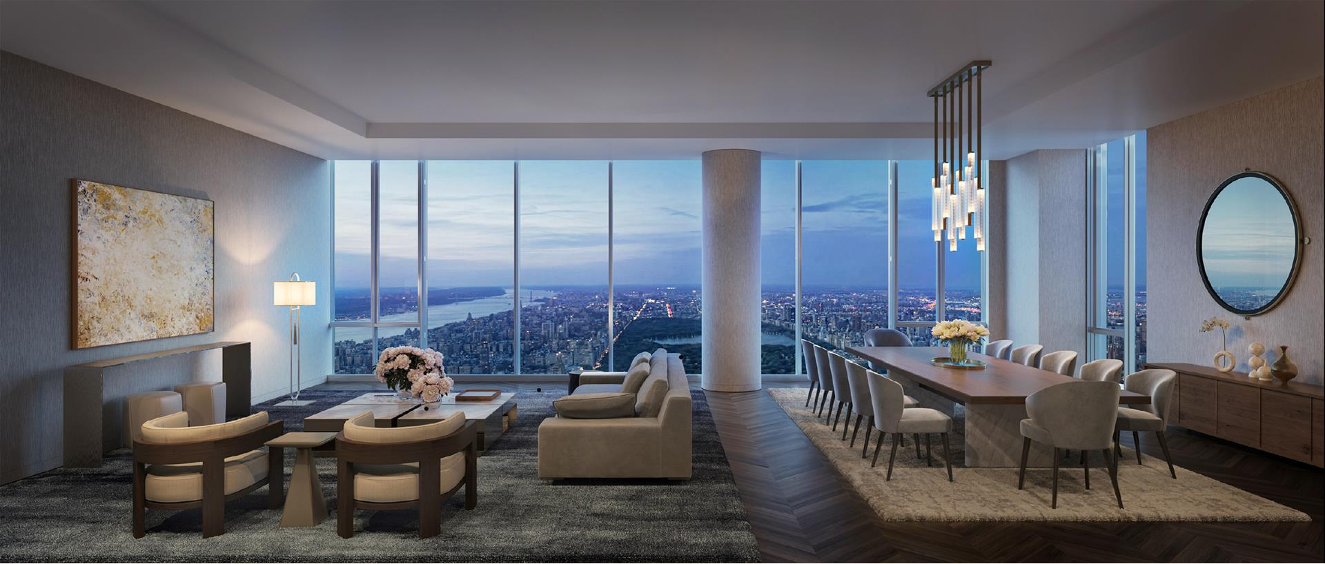 Wrap yourself in the ultimate ambience of luxury, style and sophistication in this expansive residence occupying half of the 86th floor at the coveted new Central Park Tower. Boasting impeccably-designed, finely-finished 4,295 sf interiors and 70+ of stunning   Central Park frontage, there is truly no other living destination like this, with views beyond compare. The generous 4 bedroom, 4.5 bathroom jewel with 12 foot ceilings sits high in a striking new 2020-built skyscraper thats changing the landscape and elevating   the lifestyle of Midtown Manhattan. Exquisite 86E overlooks Central Park, the Manhattan skyline and both rivers from 880 above the city. Experience the beauty of brilliant sunrise vistas by day and a show of sparkling city lights by night, framed by massive   glass panels flooding the home with natural light.  Beyond a gracious entry foyer that welcomes you in is a capacious grand salon, featuring corner exposure walls of glass and stretching views lending a spectacular backdrop for living, dining and entertaining. The chef will delight in the open gourmet kitchen   with all the bells & whistles, from custom cabinetry by Smallbone of Devizes to sleek countertops, and a suite of top-of-the-line Miele stainless steel appliances. Relax and serve coffee or cocktails in the wonderful adjacent corner family room, and unwind   in your fabulous primary bedroom retreat boasting unobstructed south & east views, 2 oversized walk-in closets, and a sumptuous windowed 5-fixture en-suite spa bath. Additional bedroom suites are spacious and well-appointed, with modern baths and abundant   closets. Heightening the allure is private on-floor storage designated for this special residence.  Built by Extell Development and designed by Adrian Smith + Gordon Gill Architecture, with refined interiors by Rottet Studios, Central Park Tower is a modern 131-story work of art rising 1,550 sf in prime Midtown. The dazzling not only affords 360-degree   panoramas of Central Park, 