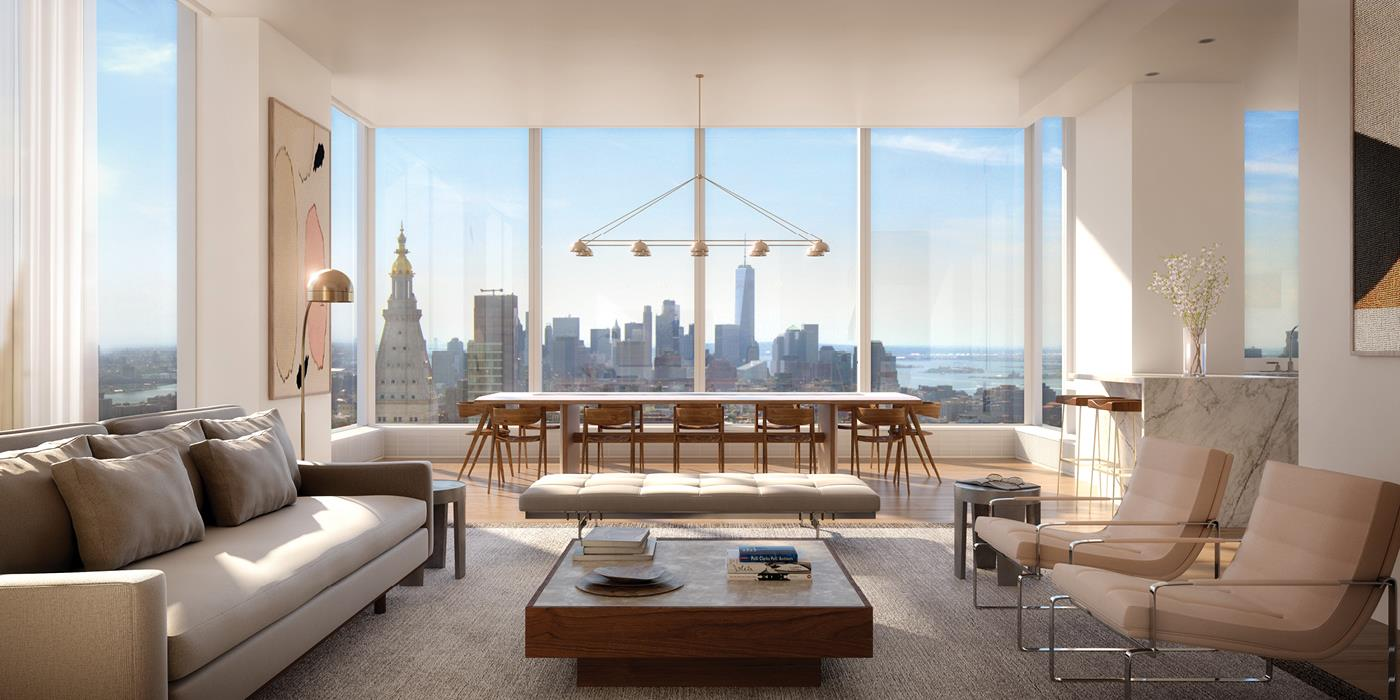 In the heart of stylish NoMad, Madison House offers unsurpassed panoramic views of New York City, where every residence has a corner window and 11-foot ceilings or higher. With architecture by Handel and interiors by Gachot, these homes start 150 feet   in the air and soar to over 800 feet. Extraordinary views are forever in style.     This 2,968 square foot three-bedroom, three and a half-bath residence opens into an elegant entry foyer, leading to a living and dining room encased with 10-foot tall windows with South, East and West views. Gachot-designed custom rift-cut cabinetry accentuates   the open kitchen, with a honed Calacatta Borghini marble waterfall island and backsplash. Gaggenau appliances including a cooktop, combi-steam oven, convection double oven, refrigerator, and wine refrigerator outfit the kitchen. White oak 5-inch plank floors   and 9-foot solid walnut doors are featured throughout the residence.     A private vestibule with a gracious walk-in-closet separates the living area from the master bedroom suite, creating a sense of privacy. The en suite master bath offers honed Bianco Dolomiti marble on the walls as well as floors, which are heated, with a custom   Gachot-designed vanity and mirror. Platinum matte Dornbracht fixtures accentuate the vanity, Kaldewei tubs and Durivit toilet. A striking powder room with honed Calacatta Nuevo and Absolute black marble walls complemented by a Gachot-designed custom vanity   with Dornbracht fixtures is situated thoughtfully off the entry foyer.     Madison House offers a double-height attended lobby and 30,000 square feet of amenities. These include a spa with 75-foot lap pool, cold plunge, hot tub, steam room, sauna, and treatment room. A 2nd floor 2,800 square foot roof garden. 5th floor double height   Gachot-designed private lounge and bar, 14-seat private dining room with a demonstration and catering kitchen, conference room, card room and reading room. State-of-the-art exercise room, separate yoga ro