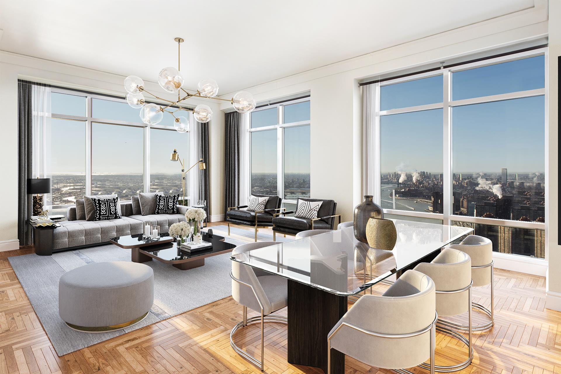 Exceptional 82nd Floor 4 bedroom, 3.5 bathroom corner residence in the Sky. This beautifully renovated SOUTH & EAST facing home encompasses almost 2900 square feet, with soaring 12-foot ceilings and Floor-to-Ceiling Windows throughout. Sunlight floods   every room and the endless views are simply breathtaking. Perched high above the city, you will enjoy iconic helicopter views of New York City's world famous landmarks, including the Empire State Building, Chrysler Building, United Nations, 1 World Trade,   gorgeous bridges, and the East River and beyond.     The superbly renovated eat-in kitchen at the center of the home is replete with Miele and Sub-Zero stainless steel appliances, a banquette and a Sub-Zero wine cooler. Adjacent is a grand study or fourth bedroom with hand-crafted custom cabinetry and delightful   river views. The master bedroom is lined with custom lacquer cabinetry and enjoys walk-in closets, automated blinds and a well appointed five-fixture marble bath. The two additional bedrooms also have en-suite marble baths and magnificent views. Other features   include Multi-zone Central Air and Heat, automated blinds throughout, washer/dryer and a marble guest powder room.    The building offers the highest quality of white glove services and amenities, including: a world class Health Club & Spa, Massage & treatment rooms, Sauna & Steam Rooms, 60 foot Salt-water Swimming Pool, Yoga & Pilates classes, brand new child's playroom,   Wine Cellar, landscaped Garden & courtyard, Porte cochere driveway with valet service and garage. The building also houses the delectable UN Plaza Grill restaurant and the elegant World Bar. AMAZING OPPORTUNITY Additionally, this apartment presents an amazing   opportunity to either be purchased alone OR be purchased in Addition to 82ACD...creating a unique and extremely rare opportunity to own the ENTIRE FULL FLOOR.... Your Own Private 11,000+/- Square Foot Sky-Mansion.    Don't miss your opportunity to call this exceptional 