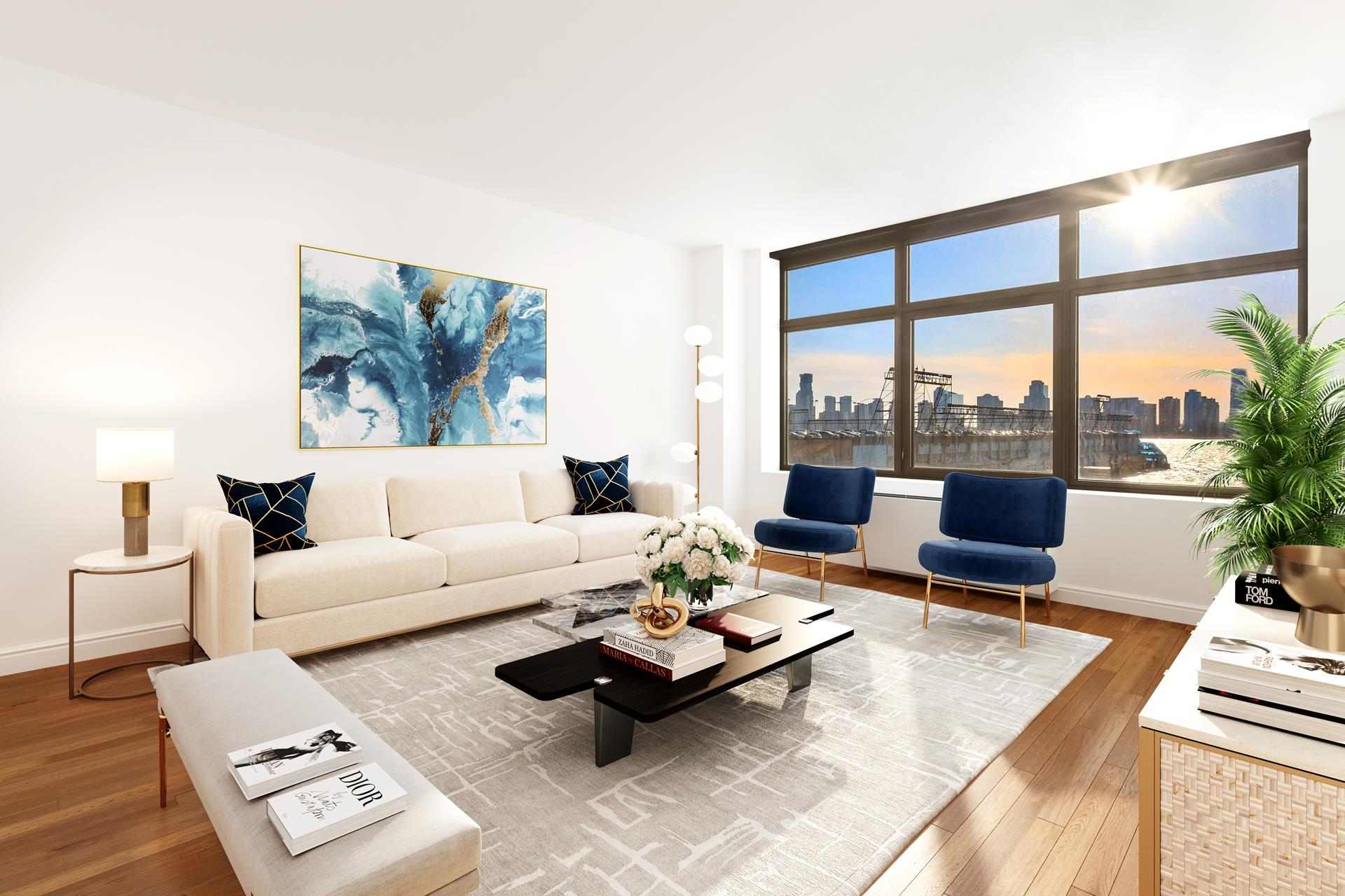 Enjoy expansive western views overlooking the river and brilliant sunsets from every room of this beautiful 2 bedroom, 2.5 bath apartment at sought-after One Morton Square! This premier condominium located on quaint cobblestoned Morton Street and the Hudson   River is the ultimate living destination in the historic West Village, offering full-service amenities and finely-designed interiors. Residence 4EW is a spacious 1,500 sq ft gem filled with natural light from oversized picture windows. Gorgeous hardwood floors,   base moldings, soothing color tones, airy ceilings and refined finishes enrich the ambience throughout.    A gracious entry foyer welcomes you inside, leading to a large hall closet, convenient washer-dryer, and lovely powder room at right. Straight off the foyer is the generous open-plan living/dining and entertaining space where you can relax and host guests.   Connected is a modern kitchen with pass-through window to the dining area for easy serving, appointed with sleek cabinetry, granite countertops, and premium stainless steel appliances including a Viking range and cooktop, Sub-Zero refrigerator, and mounted   microwave oven.     The inviting, well-proportioned primary bedroom receives lots of sunlight and showcases stunning river and skyline views. There is plenty of room for a king-size bed, bedroom furnishings and a sitting or office area. Also in your private suite is a huge walk-in   closet, 2nd closet, and high-end bath featuring a dual sink vanity and soaking tub with marble tops, and separate glass-enclosed spa shower. The secondary bedroom is sizable and tranquil, with river views, ample closets, and a full tiled en-suite bath.    Designed by the renowned Costas Kondylis & Partners and finished in 2004, One Morton Square is a striking luxury residence with 24/7 doorman & concierge service, an onsite garage with valet, state-of-the-art fitness center, large lush courtyard garden, children's   playroom, and bike storage. The prime locatio