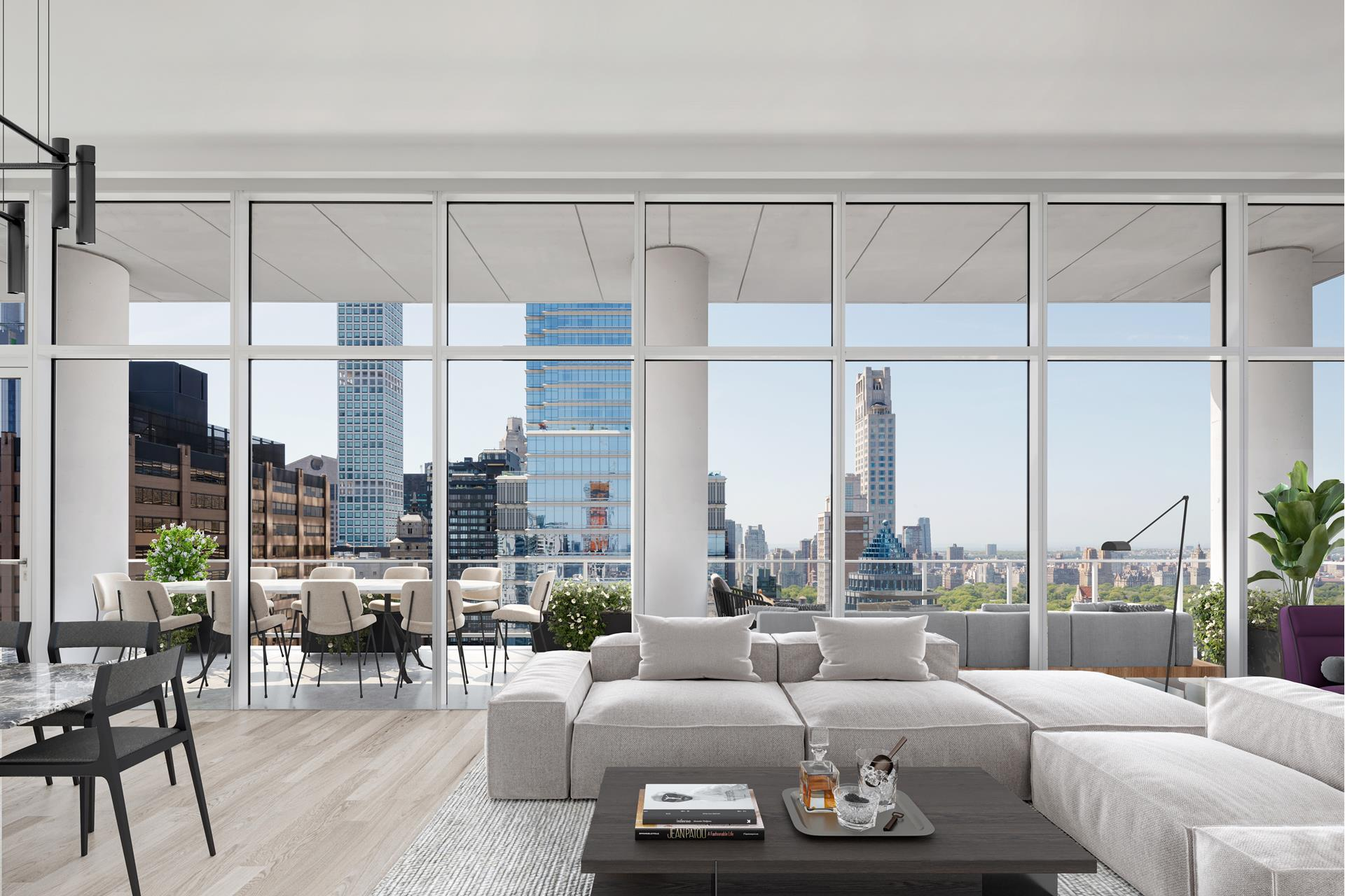 Introducing Penthouse 34, an unparalleled, three-bedroom, three and a half bath full floor residence with 14' finished ceilings, and 148 linear feet of continuous terrace with 360 degree views of Central Park and the Manhattan skyline. The floor to ceiling   glass windows and expansive 14' ceilings tie the inside/out living concept together perfectly. The 3,471 square foot terrace seamlessly connects the corner great room to a kitchen outfitted with Italian white glass and aluminum trim cabinetry by Aran Cuchine,   book matched honed Calacatta marble slab countertops, a natural white oak island and full-height backsplashes, and integrated Brilliant White glass appliances by Miele including an integrated wine refrigerator. The expansive northern facing master bedroom   features two separate dressing rooms and a luxurious en-suite master bath clad with Siberian white polished marble walls and honed marble floors with radiant heating. A floating vanity is crafted from Siberian mink polished marble, fixtures by Watermarks contemporary   Loft 24 Collection in a polished chrome finish, and a spa-like floor-to-ceiling glass enclosed rain shower with thermostatic controls along with a freestanding deep-soaking bathtub. Wall-mounted toilets are by Toto. A washer and dryer is tucked away in the   tranquil powder room with custom-designed pedestal sink, Cremo Delicato honed marble slab floor with a Ceruse finished white oak feature wall which completes this elegant residence.    The complete terms are in an offering plan available from the Sponsor (File No: CD 16-0082)