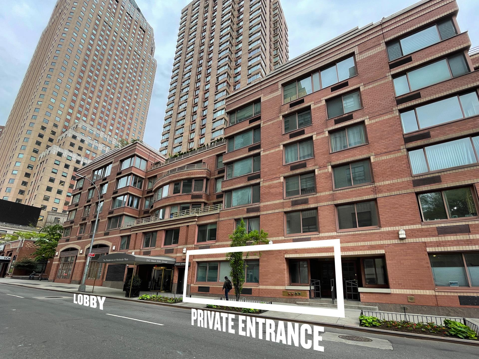 You are not dreaming! You can actually have it all - the exclusivity of your own Townhouse style condo, along with the complete services of a luxury condominium.      Direct and Private Access from the street and your own address: 360 West 50th Street as you enter. TH1G is a privately entered maisonette that is ideally situated next to the lobby of the famed Worldwide Plaza at 350 West 50th Street. It is one of a select   collection of townhomes that are sequestered within the condominium complex and, in addition, happens to be the largest of the units, measuring almost 900 square feet. Such a property rarely becomes available and has the added bonus of having been legally   zoned as a residential live-work space that allows the option of a professional office to operate or use it as live-work if you prefer.      The condo's interior features 10 ft. high ceilings, a large separate bedroom or large office, den, washer/dryer, marble bathroom, ample closet space throughout, new wood floors, and oversized windows.      At this renowned New York City condominium, you will also enjoy panoramic Manhattan skyline views from the magnificent roof deck, a landscaped courtyard, and a lush, beautiful garden, along with 24-hour doorman, concierge, cold storage, and the opportunity   to join the health club next door that offers a swimming pool and gym. Currently, there is a monthly assessment of $227 until 9/2022.      Don't wait to schedule a viewing today for this one-of-a-kind property!