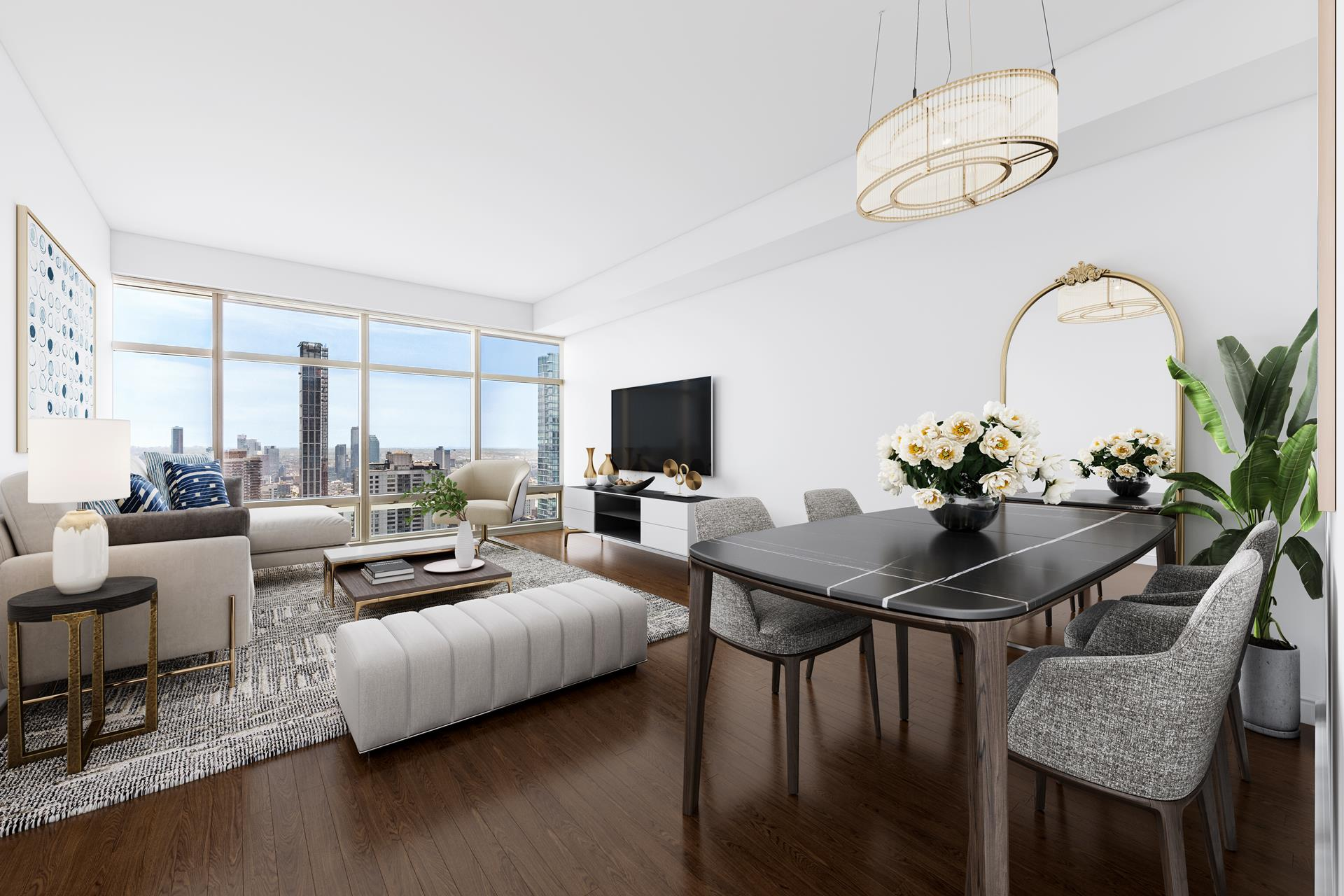 Rarely available at One Beacon Court. Residence 36C is a stunning 2-bedroom 2.5-bathroom condominium spanning 1,364 sq. ft and featuring unparalleled views East.   This residence features soaring 11-foot ceilings, beautiful custom built-in cabinetry, detailed   molding and solid hardwood floors throughout.     Gorgeous city, East River and bridge views in every room are enjoyed through the quiet, sun-drenched, massive floor-to-ceiling windows. The living and dining area offers ample space for entertaining. The kitchen features a wrap-around counter, lacquered cabinetry,   top-of-the-line stainless steel appliances and a solid stone countertop. The primary bedroom is a sprawling 17.5x12.5 and boasts a large custom built walk-in closet and stunning, mint-condition, 5-fixture marble-encased en suite bathroom with deep soak tub.   The secondary bedroom features its own en suite bathroom.      One Beacon Court is one of Manhattans most coveted, white-glove condominiums. Amenities include a concierge, 24 Hour Doorman, Resident Building Manager, fitness center, massage room, business center, private lounge, playroom, valet parking and a drive-in porte-cochere   entrance. One Beacon Court is premier New York City living, situated close to shopping, fine dining, art galleries, museums, Central Park and more.