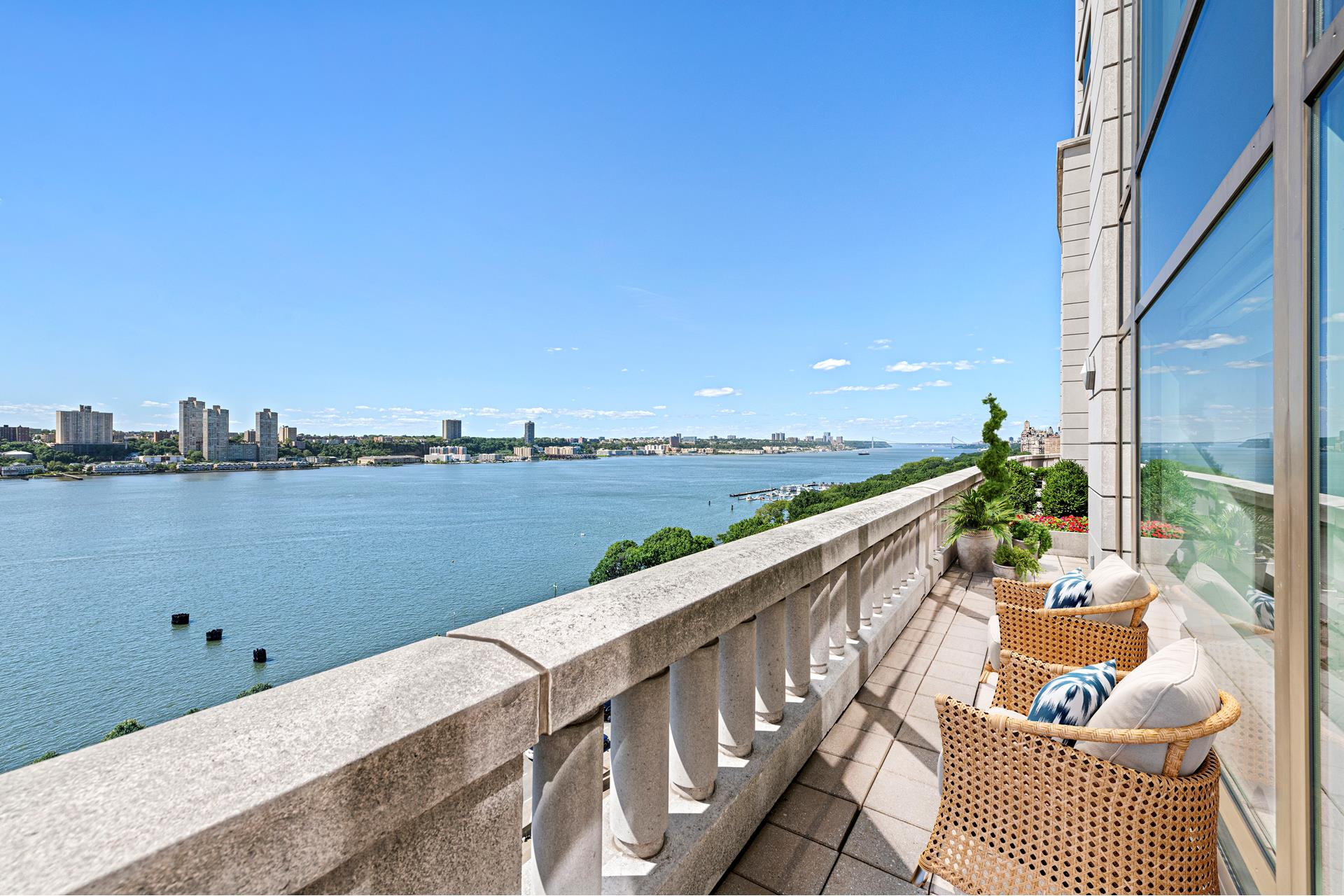 Style and comfort define this 2,182 square foot newly renovated home with direct views of the Hudson River and beyond. The entry foyer opens to a sun-filled great room that seamlessly combines kitchen and dining space with owner private access to a beautiful   limestone encased 265 square foot setback terrace directly looking out onto the Hudson River. The windowed chefs kitchen is equipped with top-of-the-line appliances, new white granite floors and quartz countertops and backsplash, imported Poggenpohl wood cabinetry,   and a new Kohler stainless steel farmhouse sink and faucet with a new GE water filtration system. All three bedrooms are privately positioned off the entry foyer with sunny Southern exposures and river views. The master bedroom has an ensuite marble bath with   Kohler fixtures, a soaking tub, separate glass-enclosed rain shower, and double vanities. Thee Crestron smart-home automation system provides remote individual room control directly from your smart phone for heating and cooling, motorized Lutron shades, recessed   and cove lighting. This updated Crestron audio/visual system also provides multi-zone music in each room including bathrooms and the outside setback terrace as well as surround sound audio/video systems in the living room and master bedroom for a cinematic   experience. Additional features include Siberian Oak Plank flooring throughout the entire house, large custom-fitted California Closets in each bedroom, including several walk-ins, vented washer/dryer. soundproof windows and in-wall and in-ceiling acoustic   panels providing quiet privacy.     The Heritage is a full-service, white glove condominium with a wealth of amenities which include a 24-hour Doorman, 24-Hour Concierge, 24-Hour Engineering staff, a 15,000 square foot newly renovated fitness center with 2 pools, steam, sauna and massage rooms,   event and screening rooms, private landscaped courtyard garden, library, playroom, valet parking, onsite garage with access dire