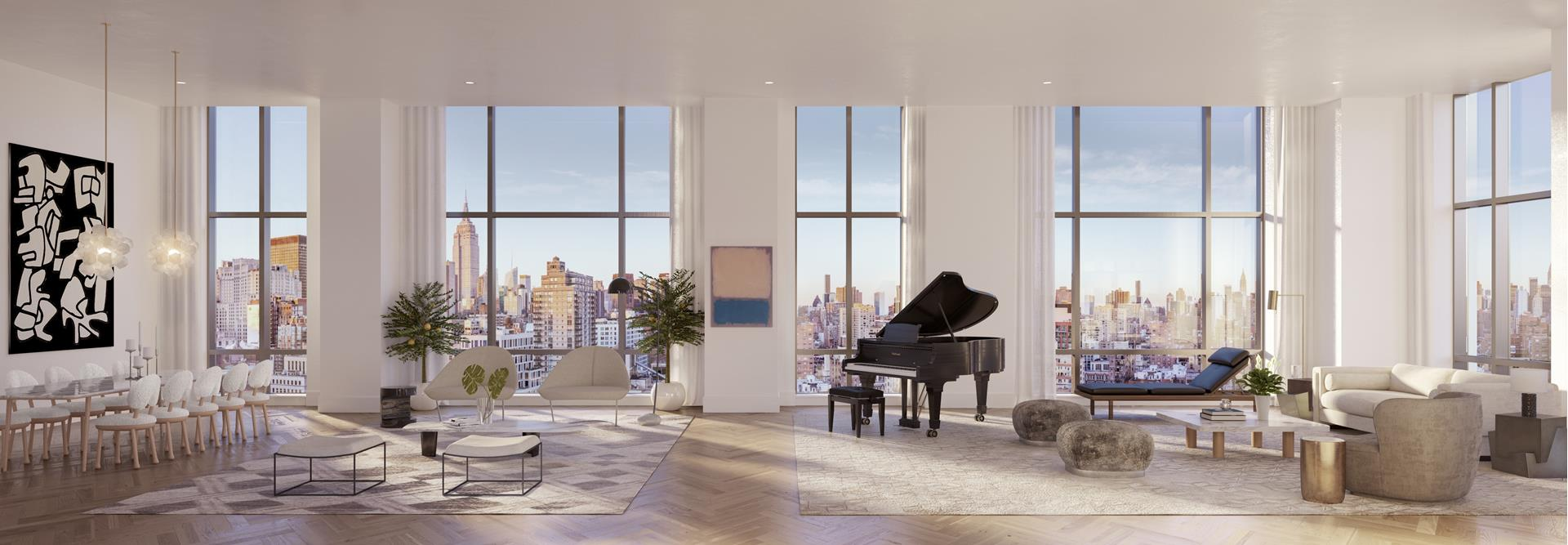 4% COMMISSION TO BUYERS BROKERS  Available for Immediate Occupancy.    Extraordinary Space and Soaring Views - One of Manhattans Premier Residence    Newly released, Residence 17C is a spectacular 3,700+ square foot, high-floor residence with dramatic 12 foot ceilings and 180-degree panoramic views. The entry gallery leads to an extraordinary great room with 56 feet of frontage and breathtaking views of   Manhattans most recognizable landmarks including the Empire State Building, Chrysler Building, the Madison Square Clock Tower, and New York Life Building.    Kitchen finishes are contemporary but warm, featuring custom-designed cabinetry by Italy-based Canova with top-of-the-line Sub-Zero and Wolf appliances, rich Calacatta marble and elegant Lefroy Brooks fixtures.    The home also features an immense master suite, with Italian marble baths, a glass-enclosed shower, a separate Duravit soaking tub and radiant heated floors. There are two additional bedrooms, each with en-suite bathrooms, and a separate powder room for guests.    Impeccable fittings and materials include Italian marble, solid hardwood doors with Valli & Valli hardware, Lefroy Brooks fixtures and rift and quartered white oak floors throughout.    Modern touches include multi-zone HVAC system for year-round temperature control, pre-wired electrical at all windows for automated shades and recessed LED lighting. A separate utility closet houses an LG washer and externally vented dryer.    This voluminous three bedroom easily lends itself to a four bedroom plan. Available for Immediate Occupancy.    215 East 19th Street at Gramercy Square is a private, full-service condominium that offers a full-time resident manager, 24-hour doorman, concierge and valet with on-site parking.    Gramercy Square includes 20,000-square-feet of tranquil, private green spaces designed by celebrated architect M. Paul Friedberg Partners. Landscape envelops the residences both on the ground and in the air, from multi-tiered cou