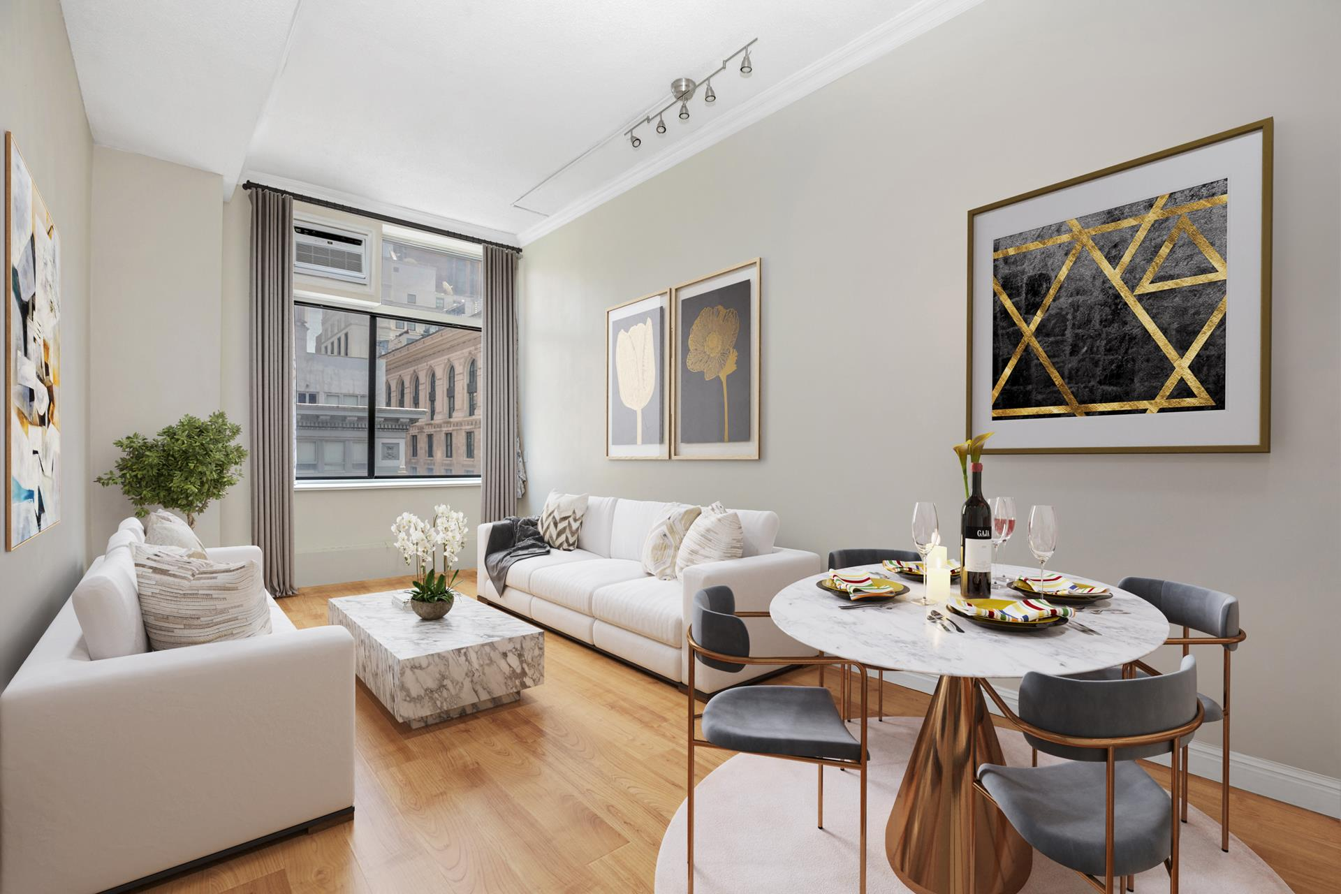 """ONE-OF-A-KIND OPPORTUNITY FOR AN AMAZING LOFT WITH 12-FOOT CEILINGS OVERLOOKING FIFTH AVENUE! Simply """"The Best Below-Market Deal"""" in the very heart of the city just north of NoMad. Move right into this large loft with a Downtown vibe for a fraction of   the price! The """"G"""" line is one of the most desirable in the building with soaring ceilings, oversized windows with Fifth Avenue city views, amazing Eastern light, 22 foot long dining and living area perfect for entertaining with space for a king-sized bed,   plus laundry on every floor. The additional cozy, upstairs sleeping loft is perfect for privacy, or can be used for exceptional storage. The kitchen features new stainless steel appliances, custom backsplash, and great storage. Refinished hardwood flooring,   custom lighting, and city views complete this unique offering - there is no better value on the market! The desirable building offers a full-time Doorman, live-in Super, laundry on every floor, plus a newly renovated, furnished roof deck with sprawling 360-degree   views. This flexible, pet friendly Coop allows pied-a-terre ownership, parental purchasing, co-purchasing, guarantors and subletting. Enjoy the height of New York City living with an unmatchable location and luxury amenities, just a 10-minute walk to each   Grand Central and Penn Station. This is an opportunity not to be missed!"""