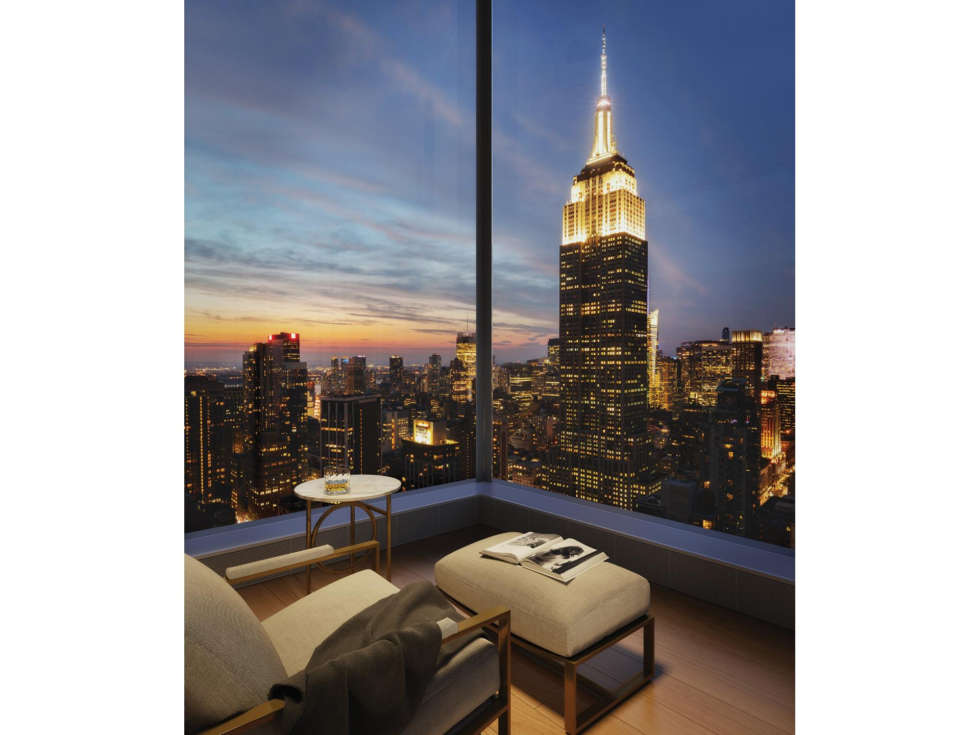 In the heart of stylish NoMad, Madison House offers unsurpassed panoramic views of New York City, where every residence has a corner window and 11-foot ceilings or higher. With architecture by Handel and interiors by Gachot, these homes start 150 feet   in the air and soar to over 800 feet. Extraordinary views are forever in style.    This 2,485 square foot three-bedroom, three and a half-bath residence opens into an elegant entry foyer, leading to a living and dining room encased with 10-foot tall windows with North, East and West views. Gachot-designed custom rift-cut cabinetry accentuates   the open kitchen, with a honed Calacatta Borghini marble waterfall island and backsplash. Gaggenau appliances including a cooktop, combi-steam oven, convection double oven, refrigerator, and wine refrigerator outfit the kitchen. White oak 5-inch plank floors   and 9-foot solid walnut doors are featured throughout the residence.    A private vestibule with a gracious walk-in-closet separates the living area from the master bedroom suite, creating a sense of privacy. The en suite master bath offers honed Bianco Dolomiti marble on the walls as well as floors, which are heated, with a custom   Gachot-designed vanity and mirror. Platinum matte Dornbracht fixtures accentuate the vanity, Kaldewei tubs and Durivit toilet. A striking powder room with honed Calacatta Nuevo and Absolute black marble walls complemented by a Gachot-designed custom vanity   with Dornbracht fixtures is situated thoughtfully off the entry foyer.    Madison House offers a double-height attended lobby and 30,000 square feet of amenities. These include a spa with 75-foot lap pool, cold plunge, hot tub, steam room, sauna, and treatment room. A 2nd floor 2,800 square foot roof garden. 5th floor double height   Gachot-designed private lounge and bar, 14-seat private dining room with a demonstration and catering kitchen, conference room, card room and reading room. State-of-the-art exercise room, separate yoga room,