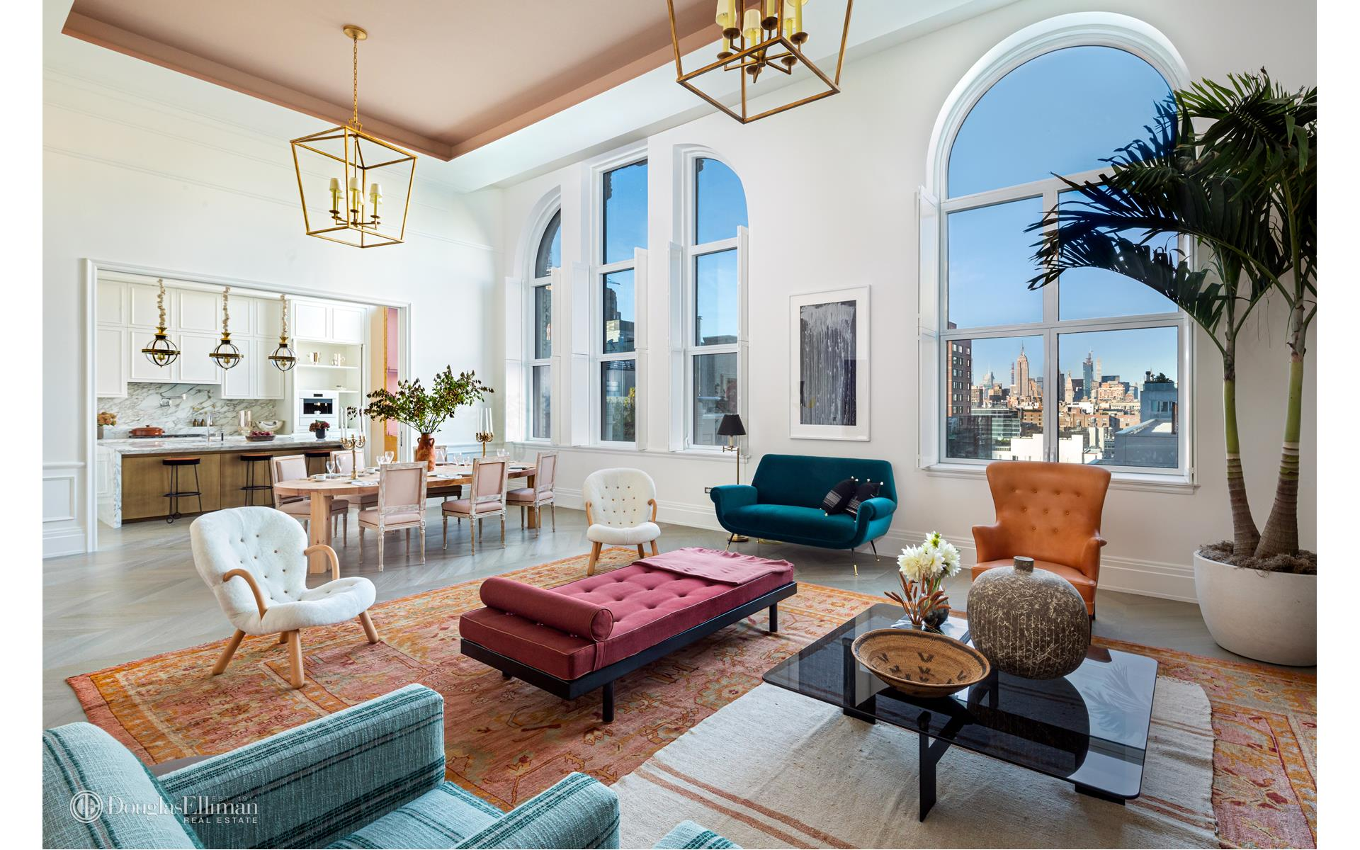 Immediate Occupancy.In honor of ELLE Décor's 30th anniversary, A-List interior designer Neal Beckstedt was enlisted to design THE HOUSE OF ELLE DÉCOR, a penthouse that commemorates the best in style and design located in Salon Penthouse 14D, a one-of-kind residence set within the Crown Collection at 108 Leonard.This 4,150 square foot 3-bedroom, 3.5-bath residence features impressive scale, volume, and character. Upon arrival, a discreet entry leads to an expansive great room featuring architectural windows of epic proportion. The great room has exceptional ceiling heights of approximately 15 feet, one of only a few residences with such dramatic scale found within 108 Leonard. Within the generously sized windowed kitchen, Scavolini cabinetry, custom designed by Jeffrey Beers International exclusively for 108 Leonard, is featured along with a Calacatta Vagli marble countertop, backsplash, and waterfall island replete with supplemental storage. The kitchen is also outfitted with premium appliances by Miele. The master suite, thoughtfully situated apart from the rest of the residence, features arched architectural windows, two walk-in closets, and a midnight kitchen. The elegant en suite master bathroom boasts high-honed Calacatta Mandria marble floors and walls with a separate glass enclosed shower, custom double vanity with Fantini polished chrome fixtures, two water closets and a freestanding soaking tub set along architectural, south-facing windows. Two secondary bedrooms with en suite bathrooms, positioned opposite the living areas, offer maximum privacy. A signature powder room with sculptural Nero Marquina marble sink, a library and a laundry room with washer and dryer complete this singular offering. Featuring a discreet drive-in motor reception including valet parking and three luxurious attended lobbies each with its own elevator bank, 108 Leonard offers both the intimate experience of a boutique building and the breadth of over 20,000 square feet of wellness-