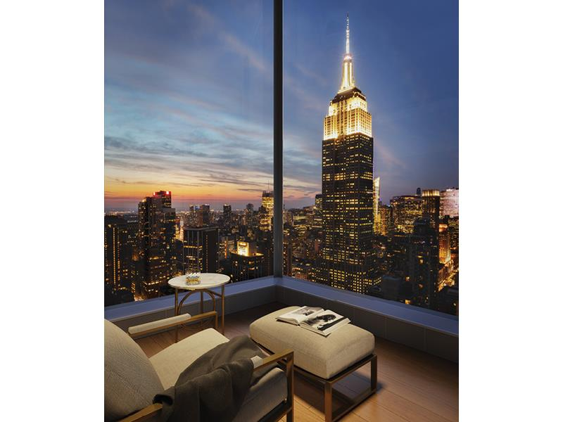 In the heart of stylish NoMad, Madison House offers unsurpassed panoramic views of New York City, where every residence has a corner window and 11-foot ceilings or higher. With architecture by Handel and interiors by Gachot, these homes start 150 feet   in the air and soar to over 800 feet. Extraordinary views are forever in style.     This 3,416 square foot four-bedroom, four and a half-bath residence opens into an elegant entry foyer, leading to a living and dining room encased with 10-foot tall windows with North, East and West views. Gachot-designed custom rift-cut cabinetry accentuates   the open kitchen, with a honed Calacatta Borghini marble waterfall island and backsplash. Gaggenau appliances including a cooktop, combi-steam oven, convection double oven, refrigerator, and wine refrigerator outfit the kitchen. White oak 5-inch plank floors   and 9-foot solid walnut doors are featured throughout the residence.     A private vestibule with a gracious walk-in-closet separates the living area from the master bedroom suite, creating a sense of privacy. The en suite master bath offers honed Bianco Dolomiti marble on the walls as well as floors, which are heated, with a custom   Gachot-designed vanity and mirror. Platinum matte Dornbracht fixtures accentuate the vanity, Kaldewei tubs and Durivit toilet. A striking powder room with honed Calacatta Nuevo and Absolute black marble walls complemented by a Gachot-designed custom vanity   with Dornbracht fixtures is situated thoughtfully off the entry foyer.     Madison House offers a double-height attended lobby and 30,000 square feet of amenities. These include a spa with 75-foot lap pool, cold plunge, hot tub, steam room, sauna, and treatment room. A 2nd floor 2,800 square foot roof garden. 5th floor double height   Gachot-designed private lounge and bar, 14-seat private dining room with a demonstration and catering kitchen, conference room, card room and reading room. State-of-the-art exercise room, separate yoga room